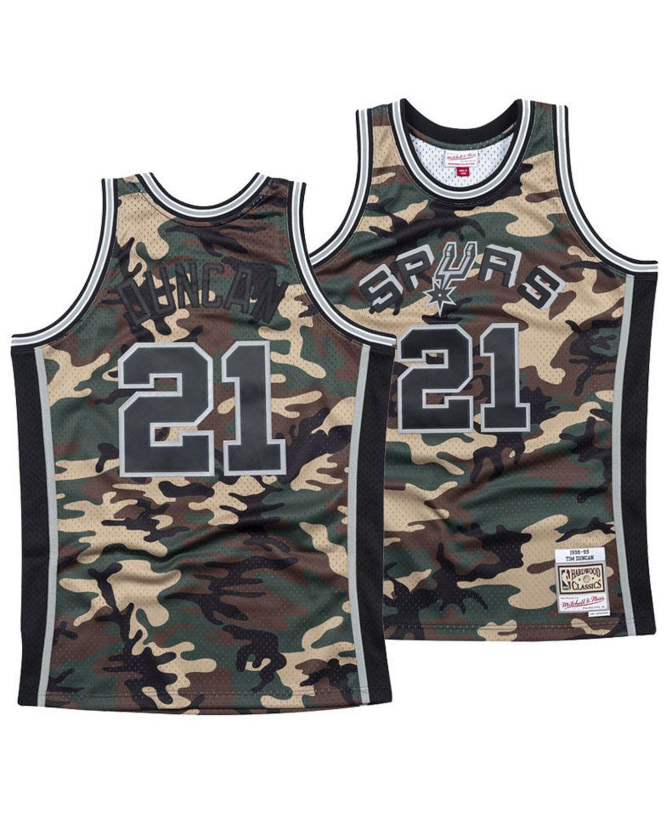 competitive price 17a29 a3753 Men's Black Tim Duncan San Antonio Spurs Woodland Camo Swingman Jersey