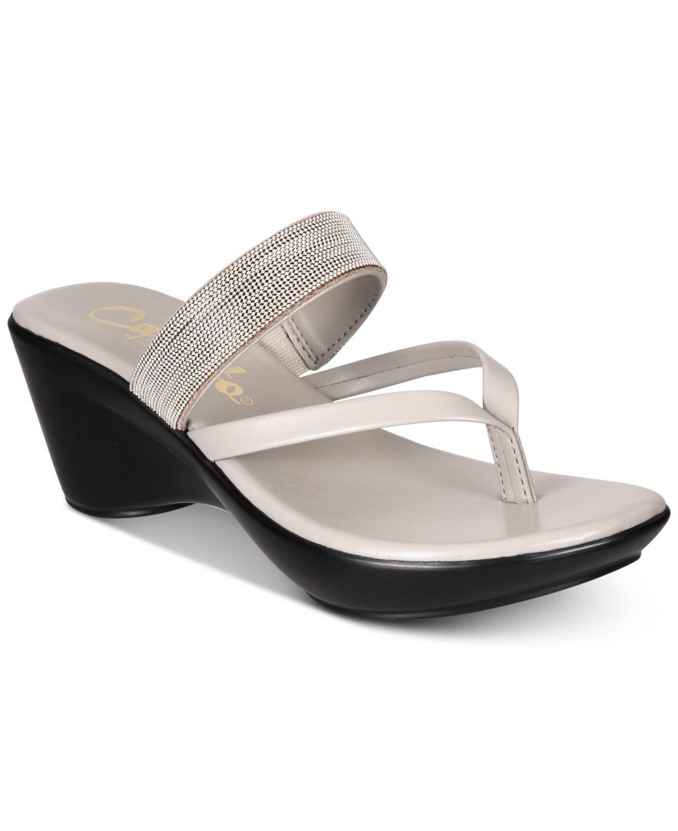 e067a30e09d6 Callisto - Gray Elora Thong Platform Wedge Sandals - Lyst. View fullscreen