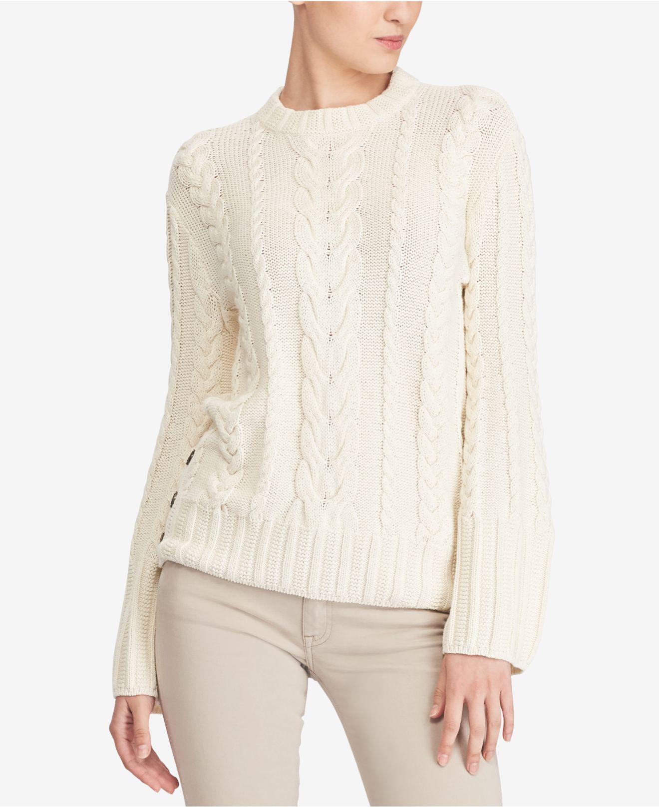 Knit Sweater Polo Ralph Dolman Natural Aran Lauren IY9EHWD2