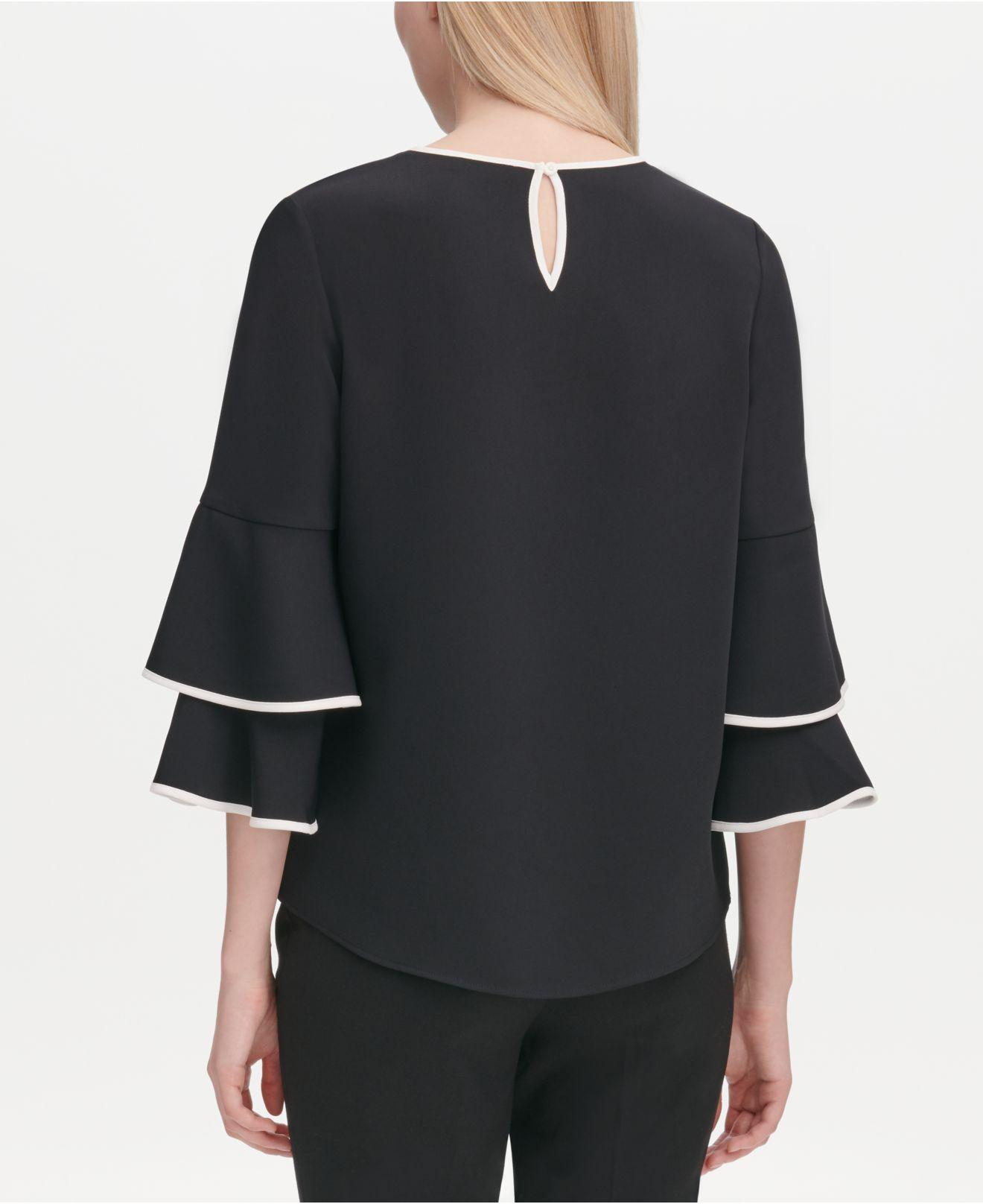 ed70fc366c6489 Lyst - Calvin Klein Contrast-trim Bell-sleeve Blouse in Black