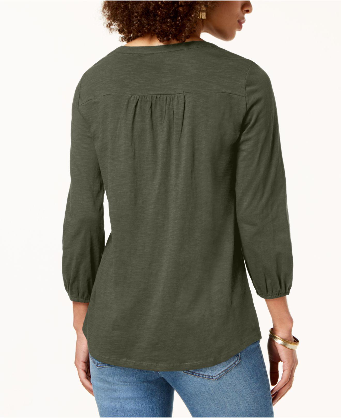 c184cc458e862 Lyst - Style   Co. Plus Size Cotton Lace-trimmed Top