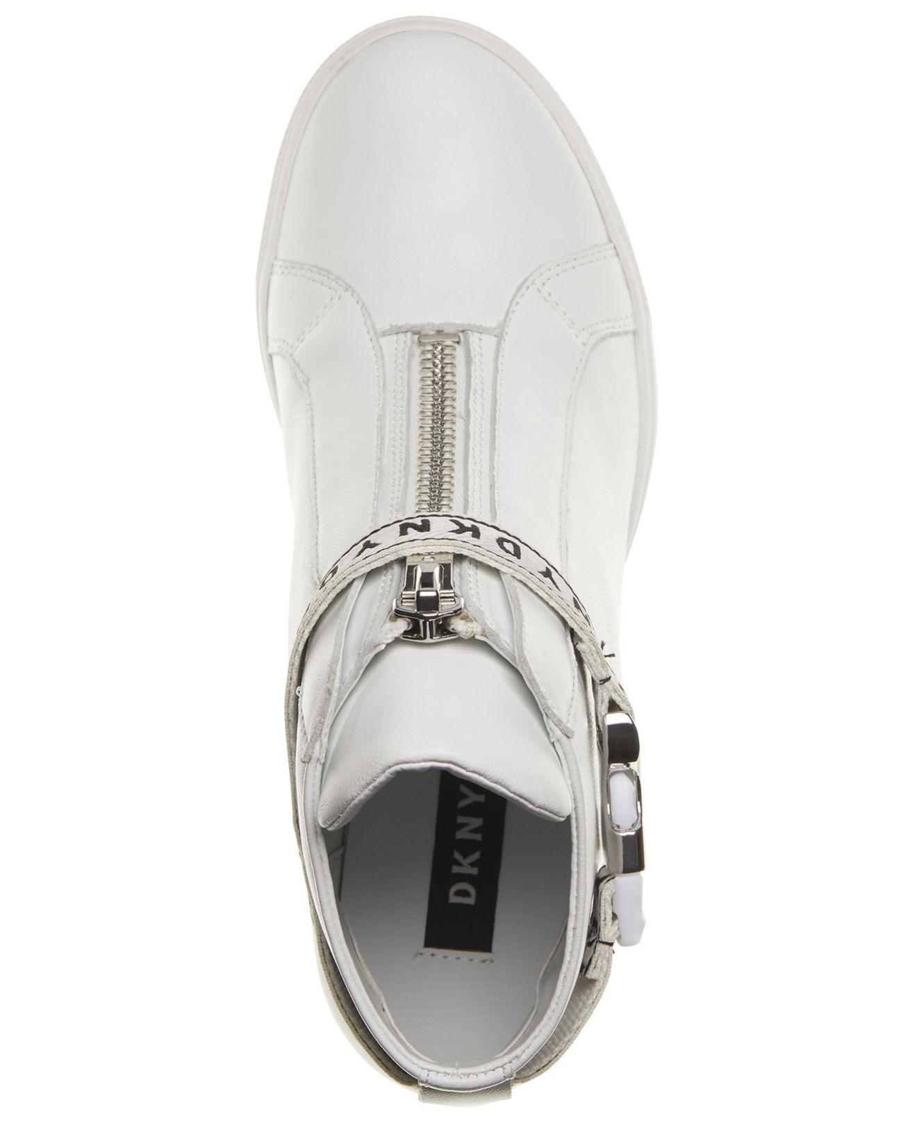DKNY Leather Caddie Wedge Sneakers