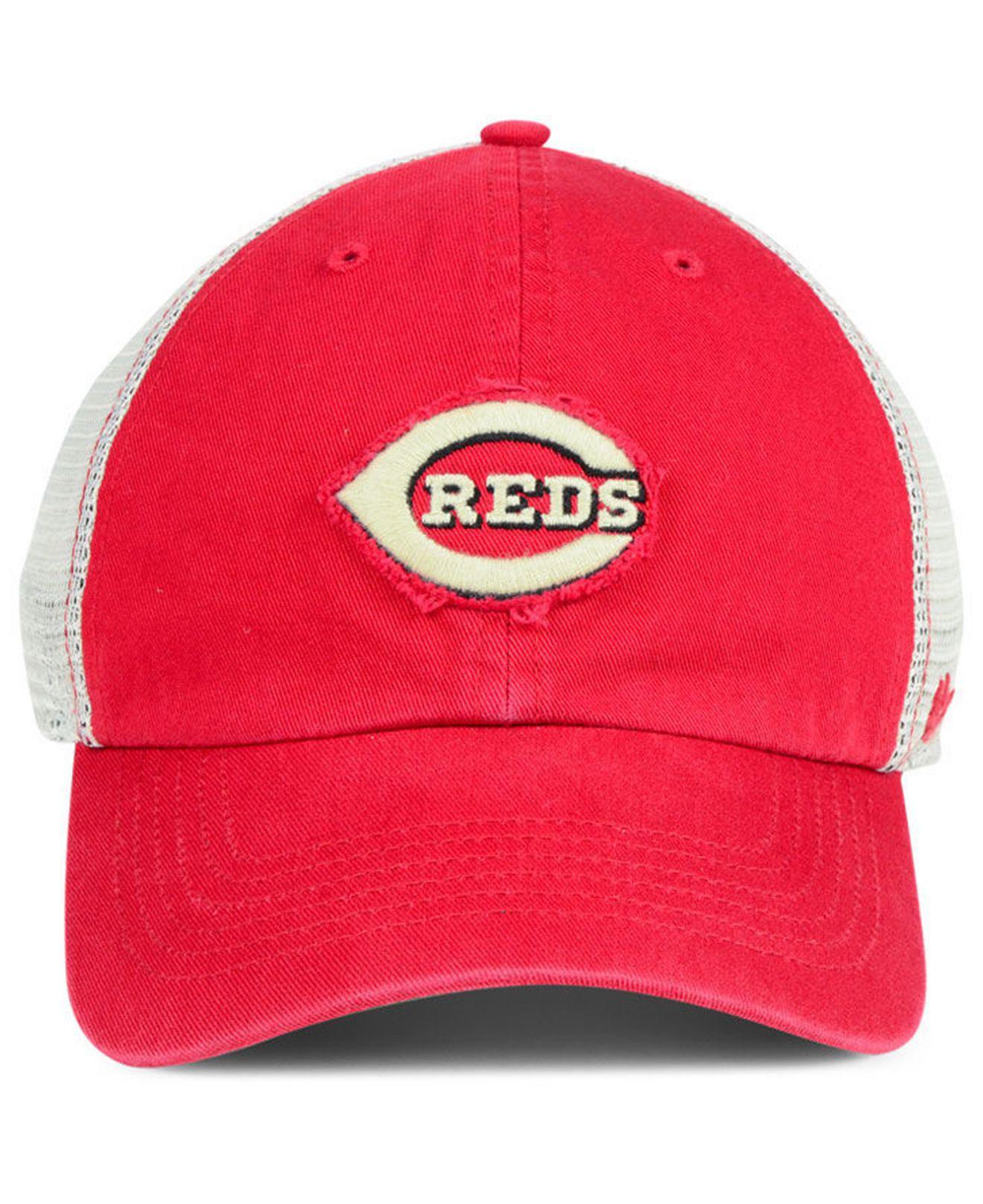 promo code dc0ca 75f75 real lyst 47 brand cincinnati reds tally closer stretch fitted cap in red  for men 4eea9