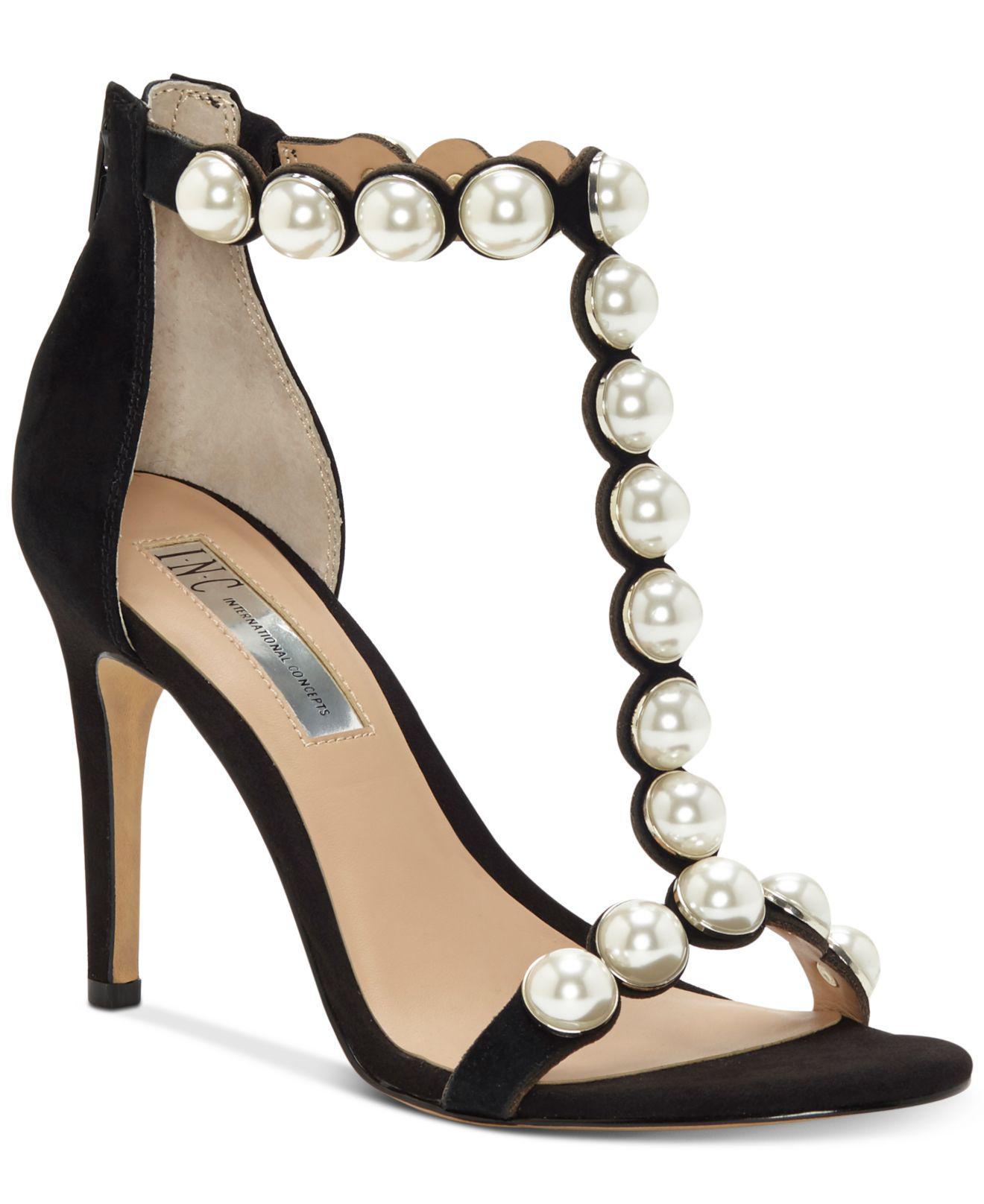 f791bc8ff INC International Concepts. Women s Black Raechelle T-strap Dress Sandals