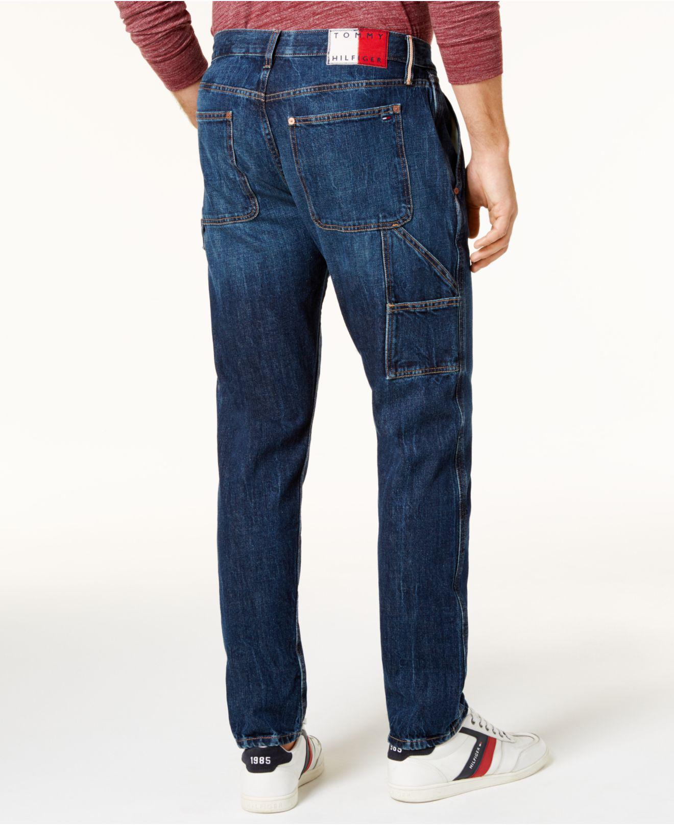 Tommy Hilfiger Men/'s Medium Wash Relaxed Tapered Carpenter Jeans