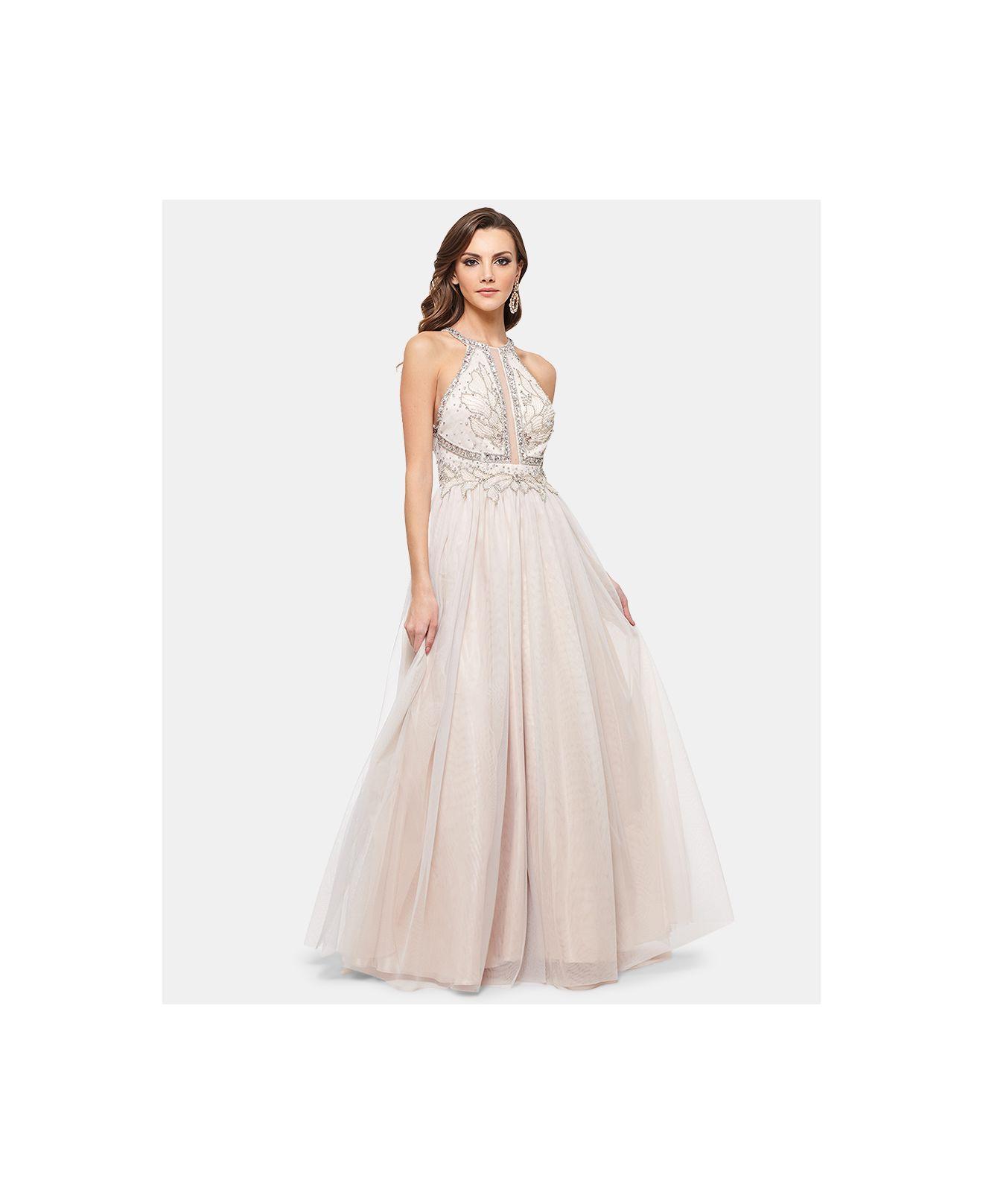b79a1684487c0 Betsy & Adam Embellished Halter Glitz Ballgown in Pink - Lyst