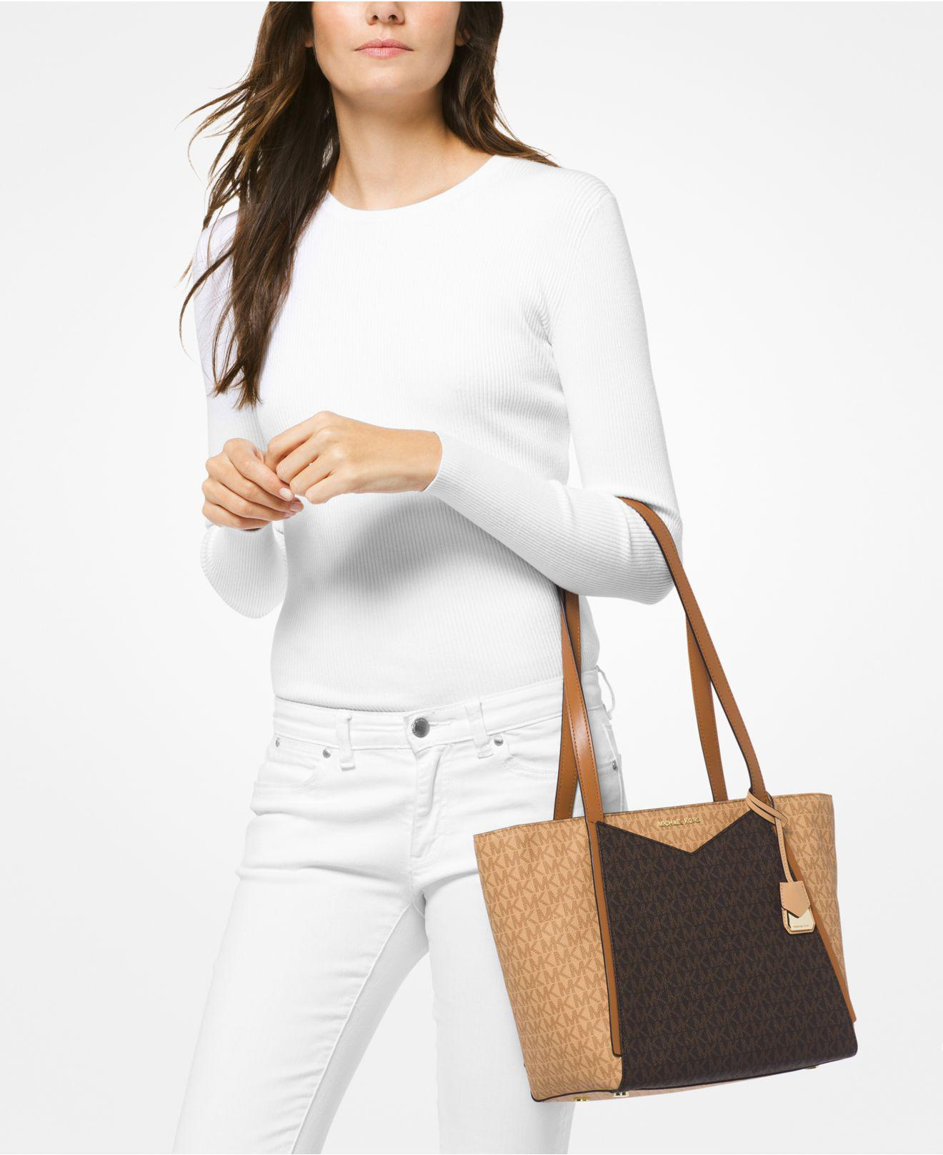 eebc73123b20c5 Michael Kors Michael Signature Whitney Small Tote in Brown - Lyst