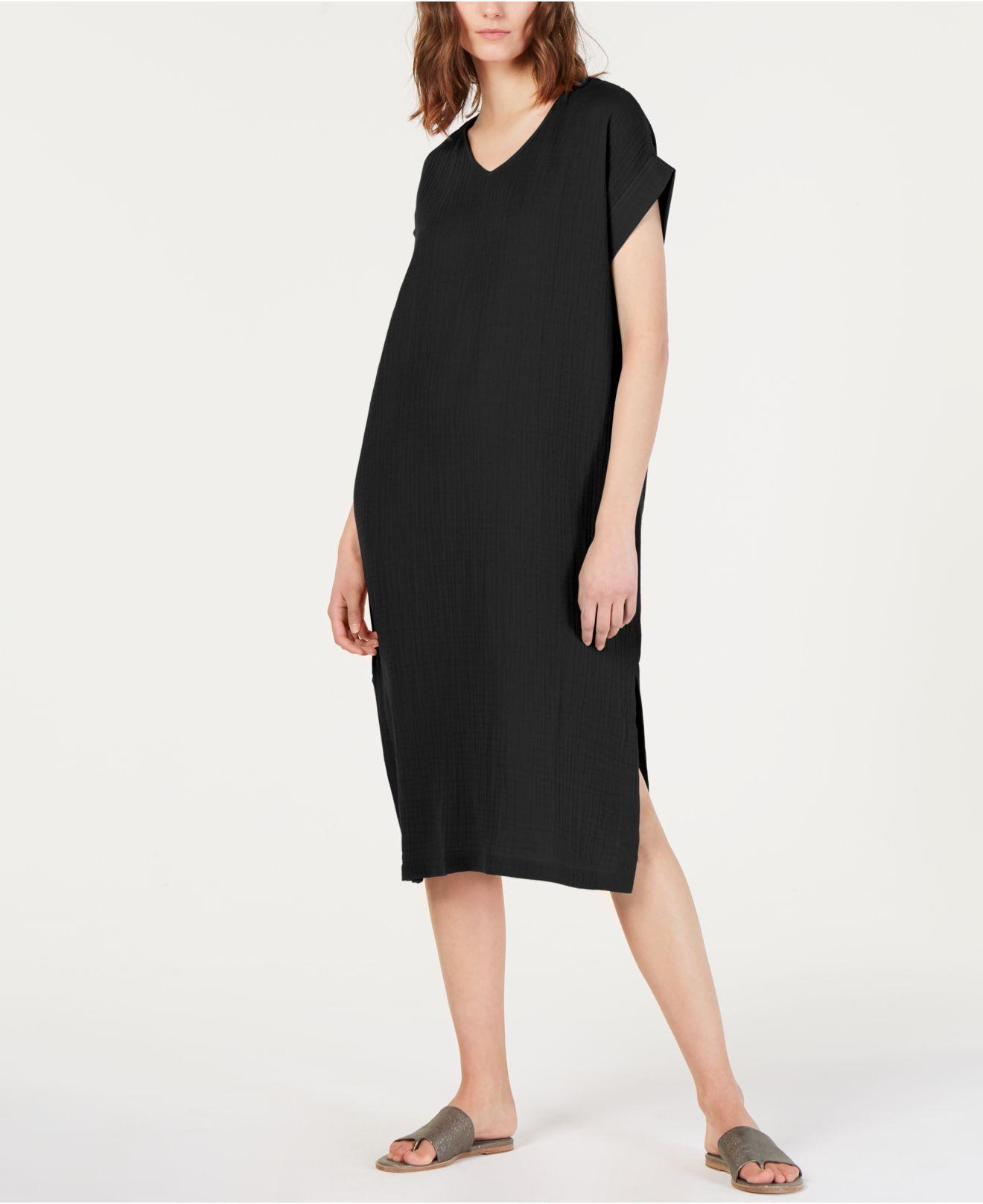 5780d7e58f32d7 Eileen Fisher. Women s Black Organic Cotton Crinkled Dress ...