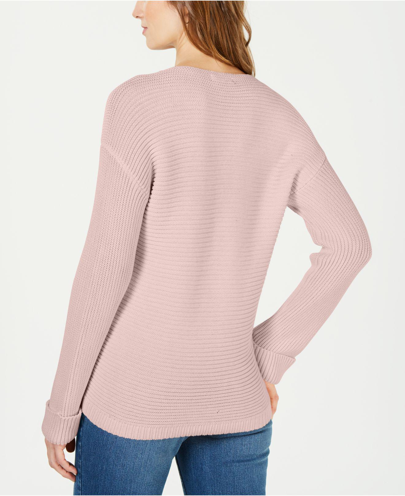 Cuffed Sweaters: Charter Club Cotton V-neck Cuffed-sleeve Sweater, Created