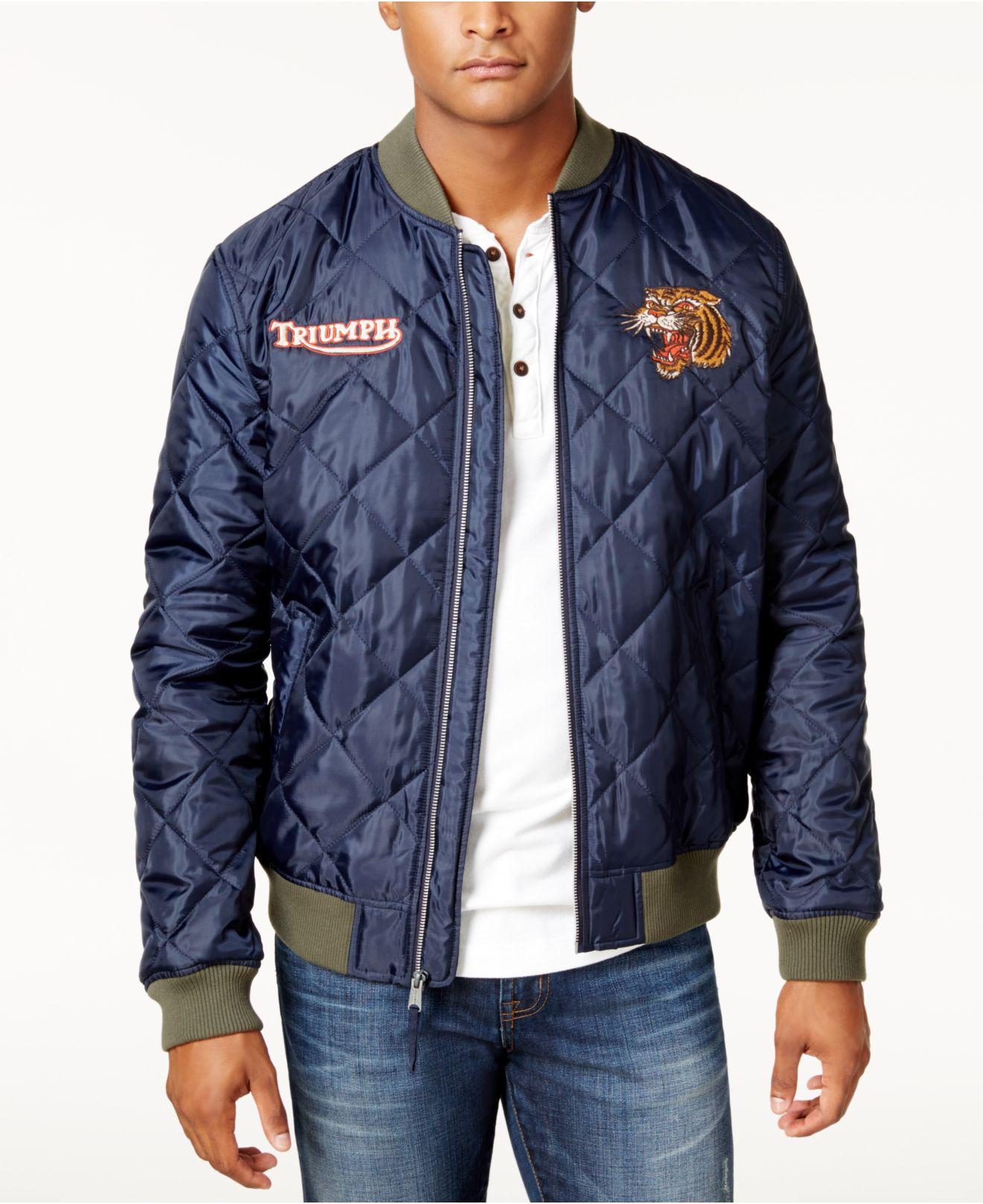 76ff3b318 Lucky Brand Blue Men's Triumph Quilted Bomber Jacket for men