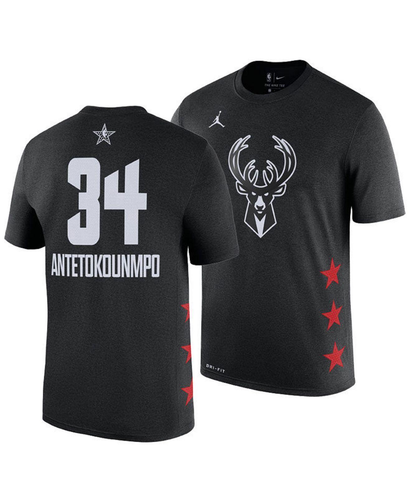 a21435eedc4 Nike. Men's Black Giannis Antetokounmpo Milwaukee Bucks All-star Player T- shirt