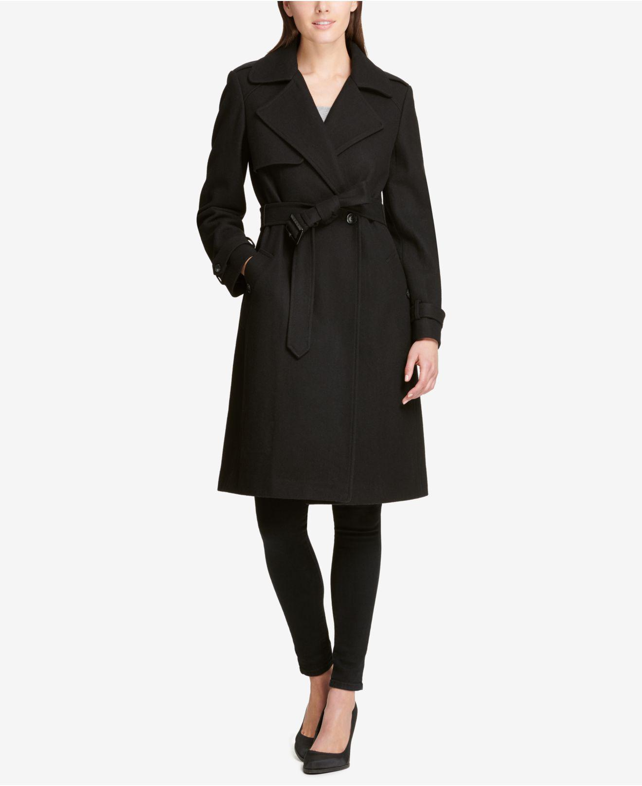 c8090fe9766 DKNY. Women s Black Belted Double-breasted Trench Coat ...