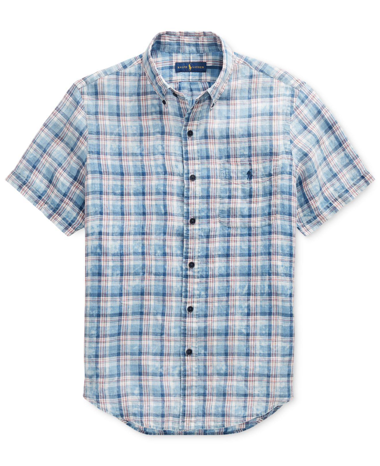 299a607c Polo Ralph Lauren Blue Mens Classic Fit Plaid Linen Shirt for men