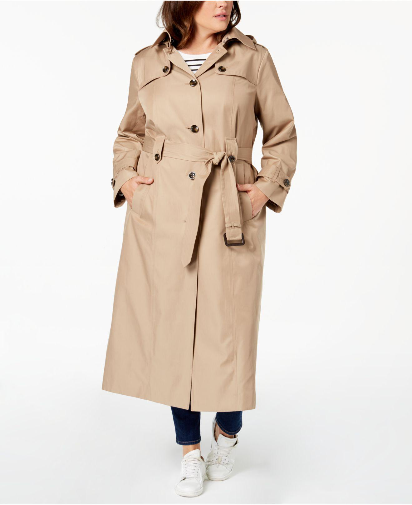 e198d9e9343 Lyst - London Fog Plus Size Belted Maxi Trench Coat in Natural ...