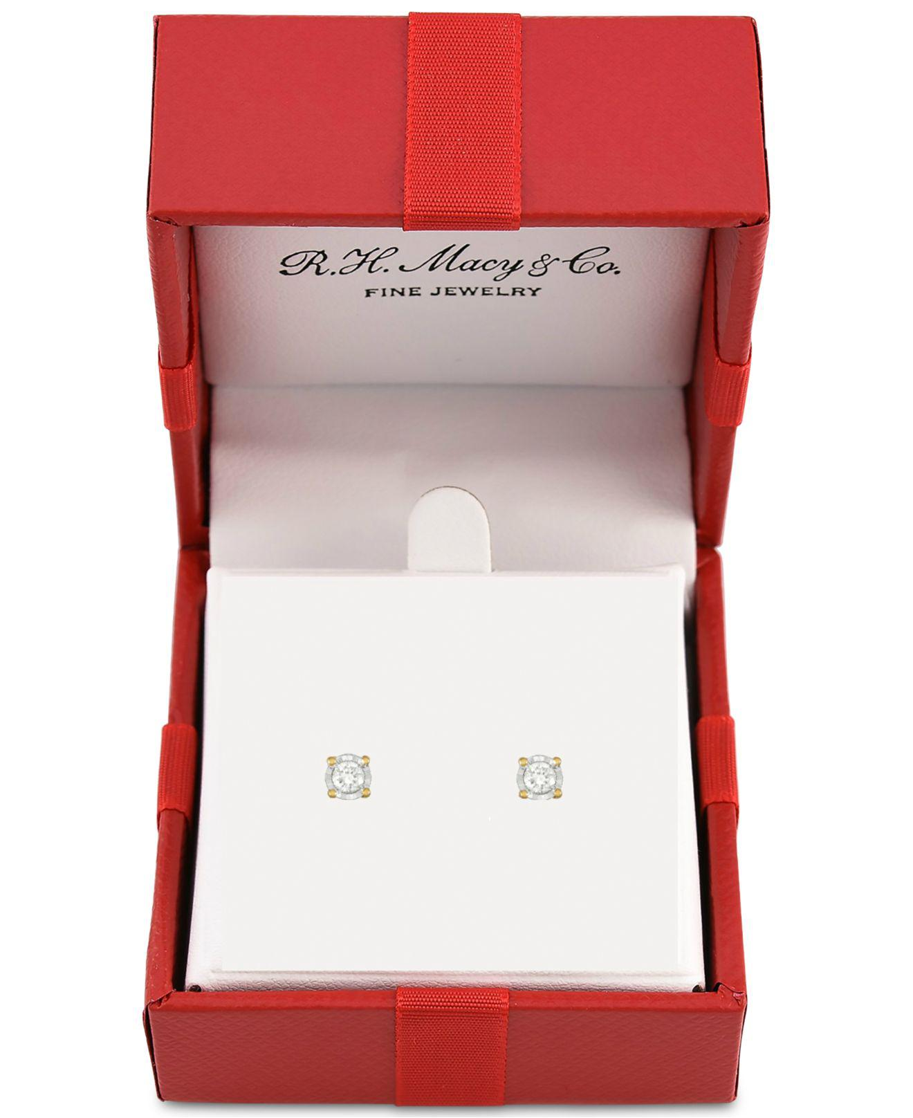 29c974abe Macy's Diamond Stud Earrings (1/5 Ct. T.w.) In Sterling Silver, 14k Gold Or  Rose Gold Over Sterling Silver in Metallic - Lyst