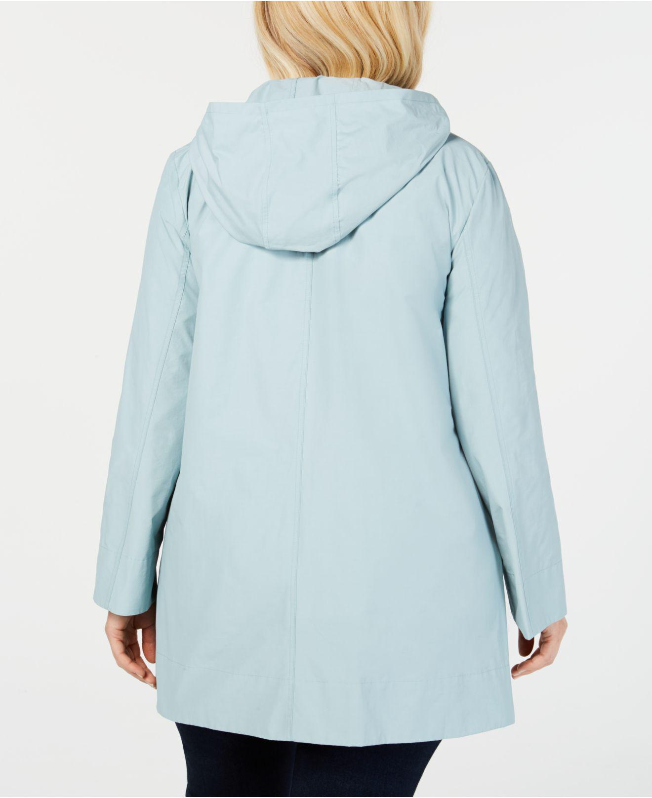 e76f4c39832 Lyst - Eileen Fisher Plus Size Organic Cotton Nylon Stand-collar Jacket in  Blue