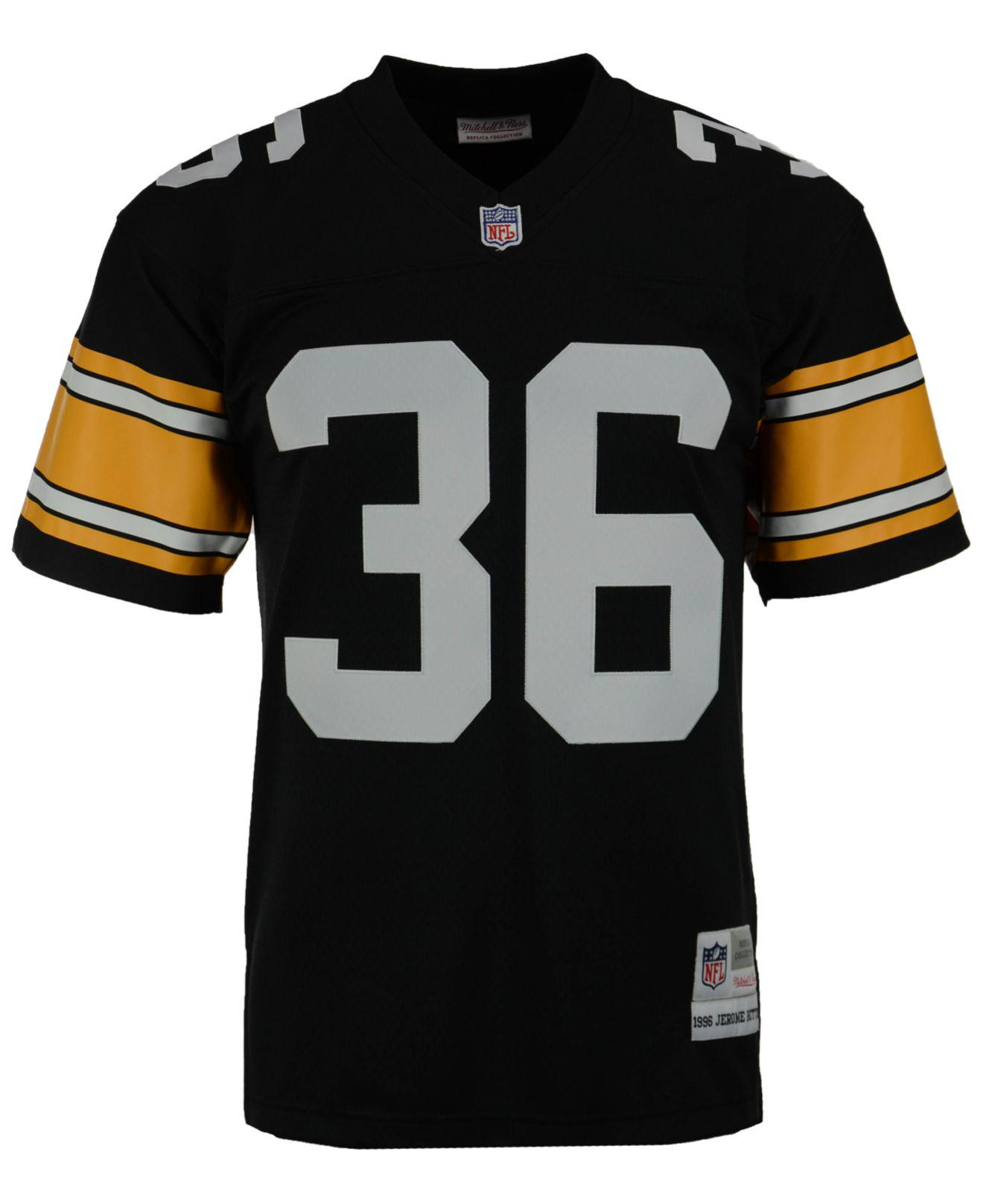 a72ed34c1a3 spain lyst mitchell ness mens jerome bettis pittsburgh steelers replica  throwback jersey in black for men