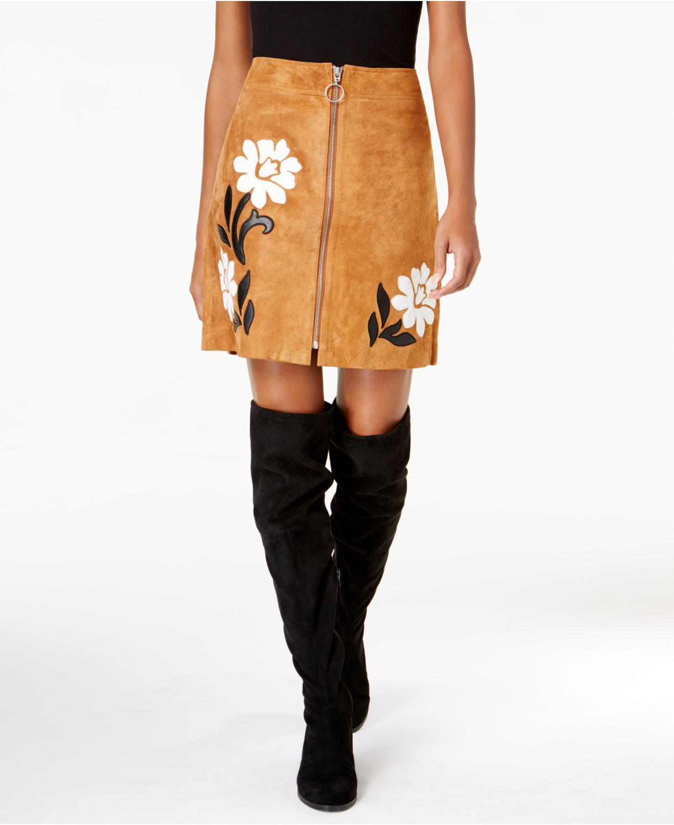 82ebfe171 INC International Concepts Suede Appliqué Mini Skirt in Brown - Lyst
