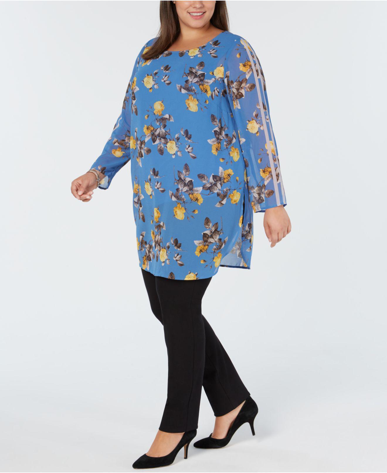 6b0b0cccd2e Alfani. Women s Blue Plus Size Racer-stripe Floral-print Tunic ...