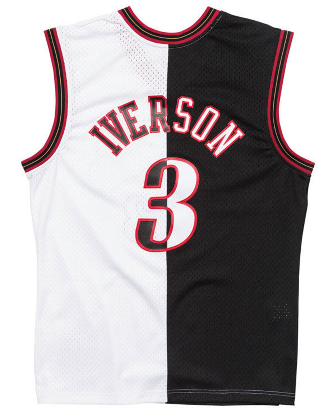 the latest fb524 38240 Men's Black Allen Iverson Philadelphia 76ers Split Swingman Jersey