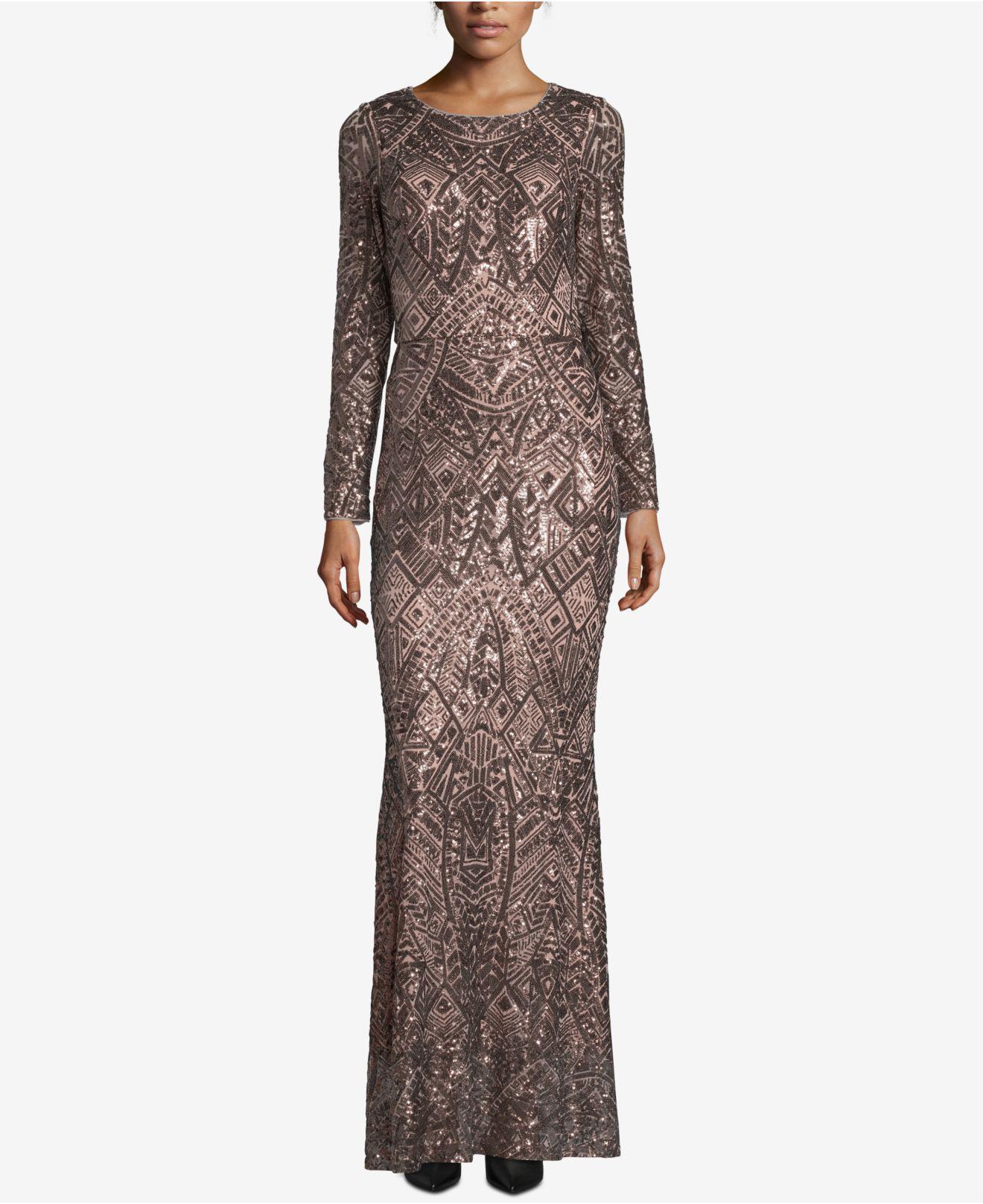 b360d28e05f Betsy   Adam. Women s Petite Long-sleeve Sequin Gown