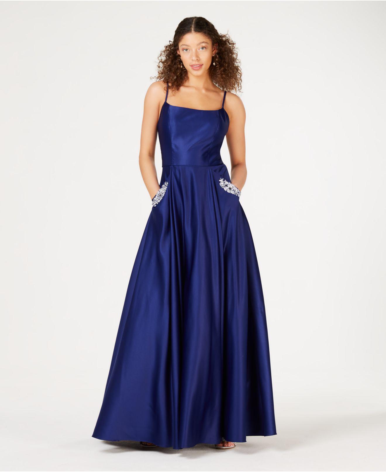 3da76fef9b54d Blondie Nites Juniors' Embellished Satin Gown in Blue - Lyst