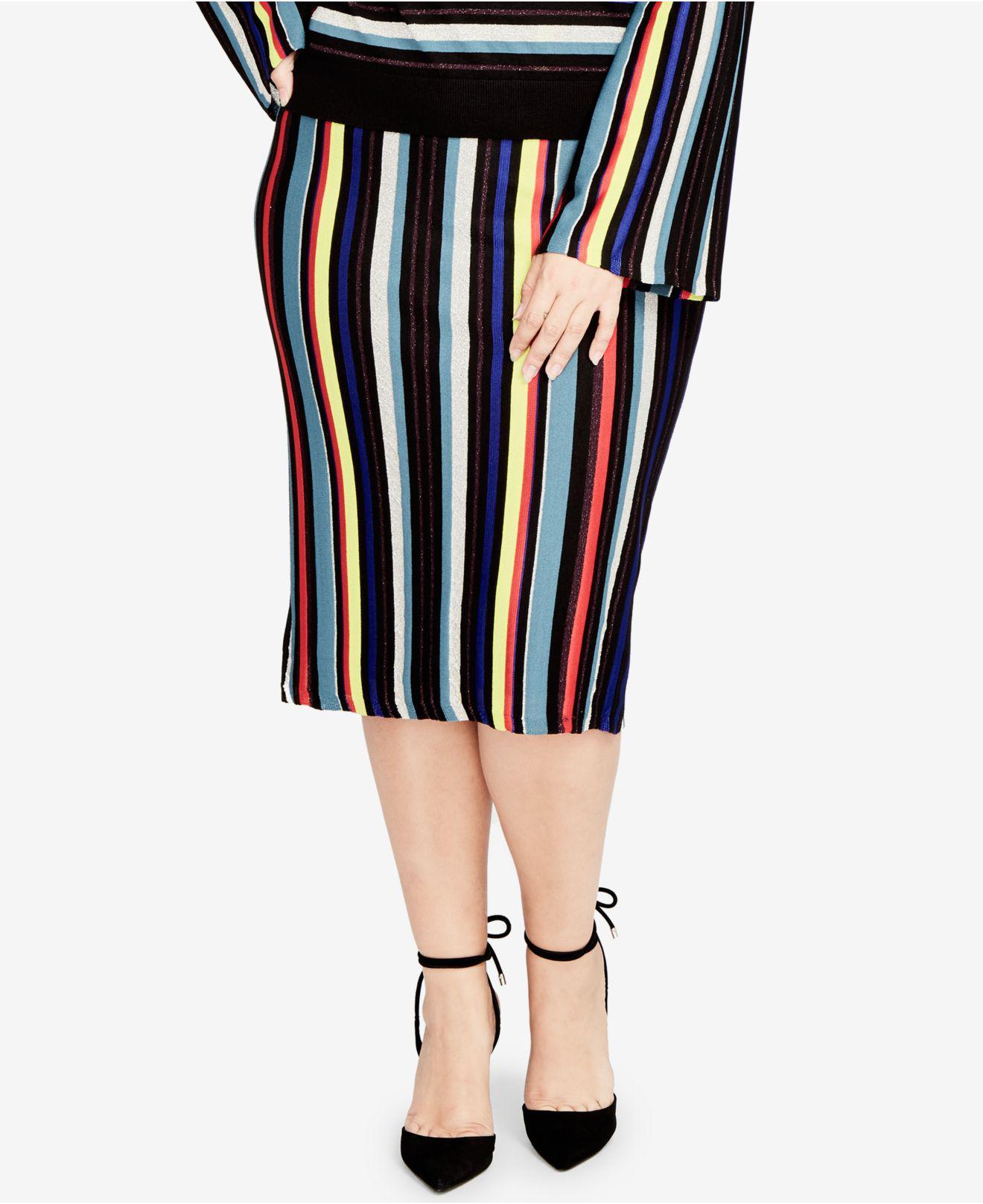 fd1d9b9045 Lyst - RACHEL Rachel Roy Plus Size Striped Sweater-knit Midi Skirt