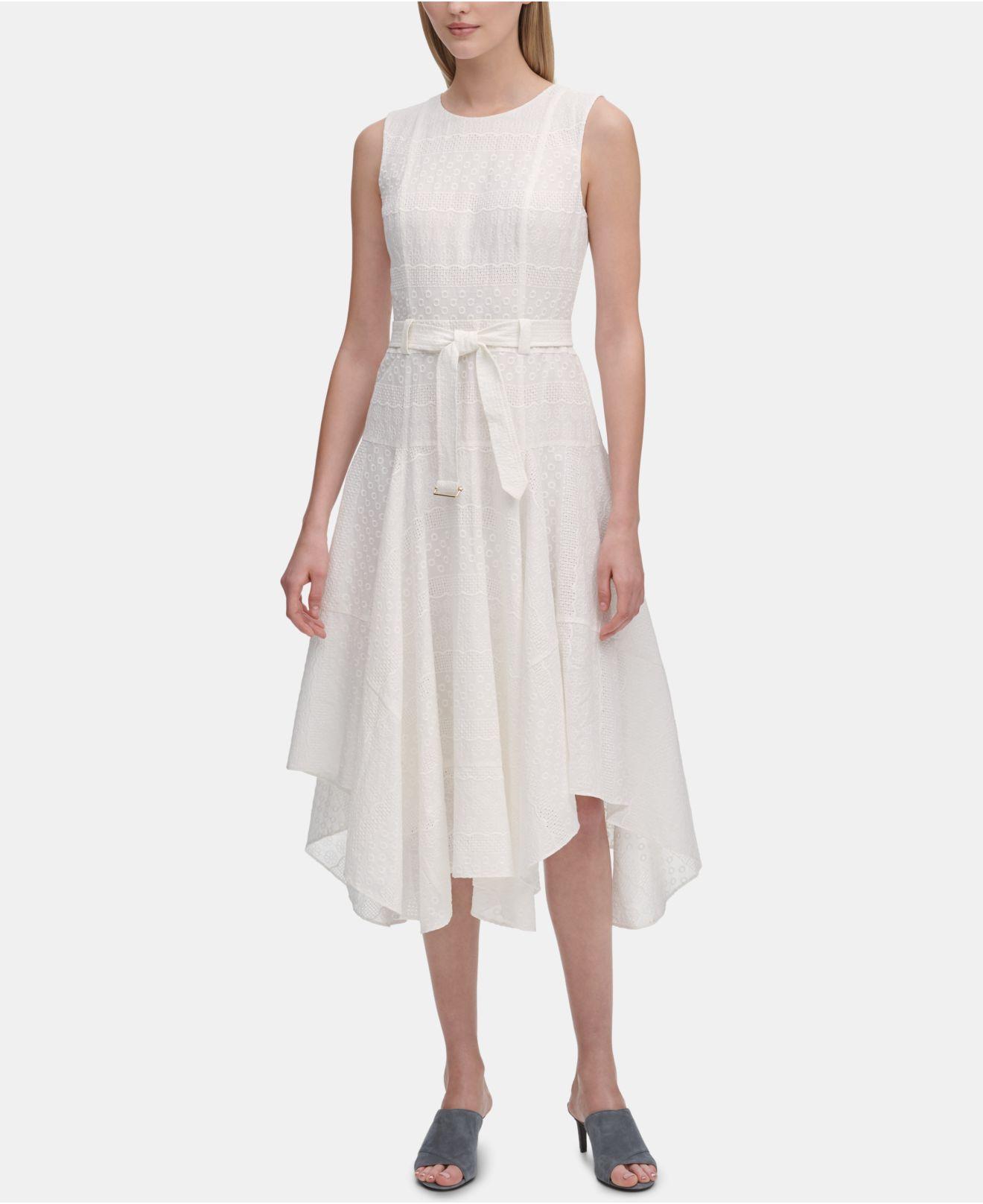 1374a10e0c Lyst - Calvin Klein Eyelet Handkerchief-hem Sleeveless Dress in White