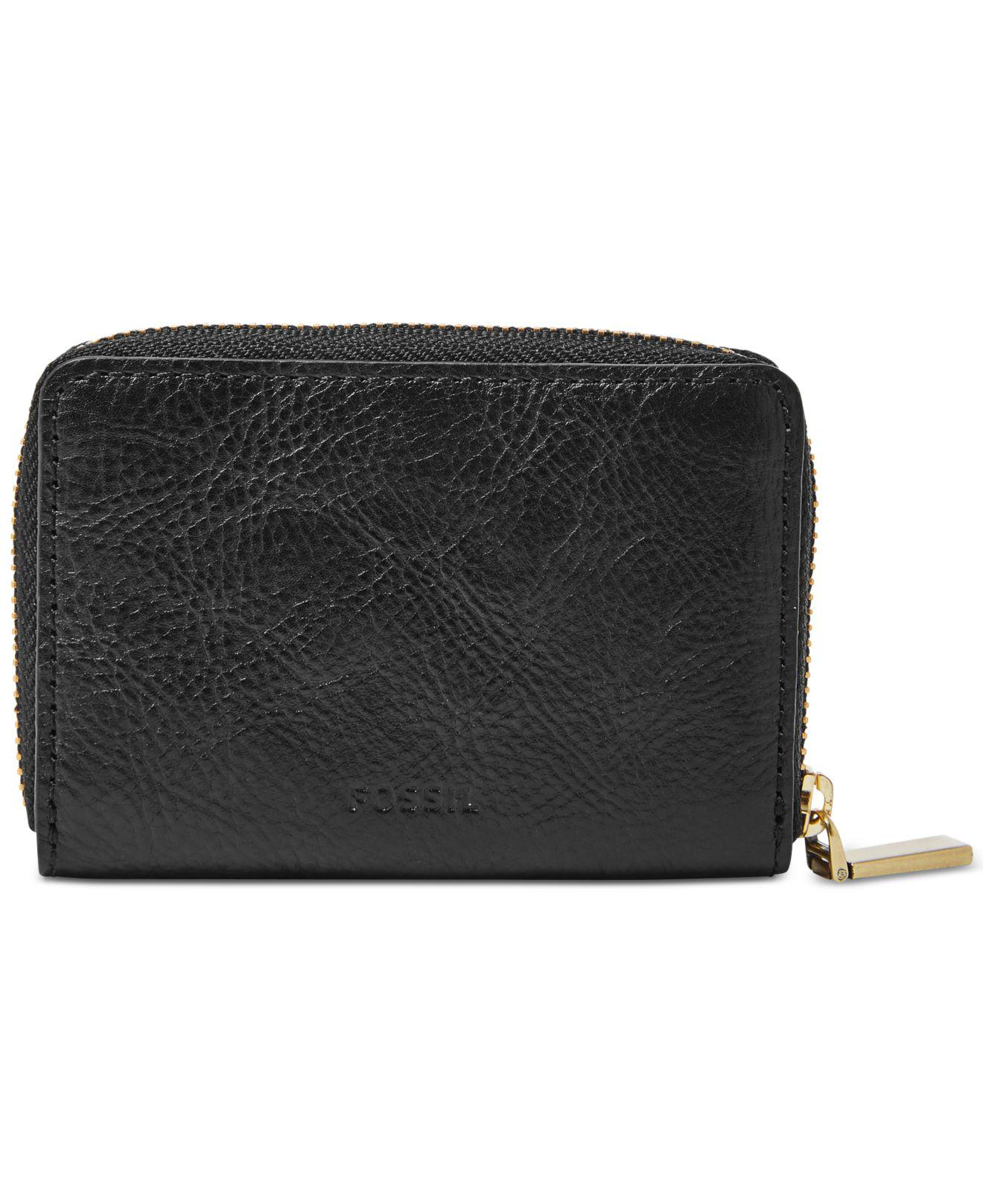 outlet store 30eaa 64298 Fossil Black Rfid Mini Zip Card Case