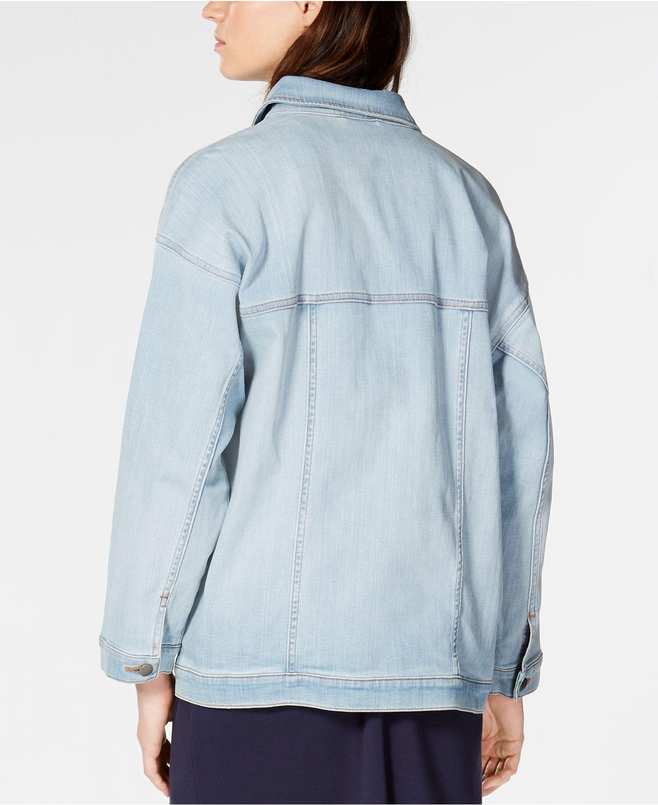 2ccf7c059bd Lyst - Eileen Fisher Organic Cotton Stretch Denim Oversized Classic-collar Jean  Jacket in Blue