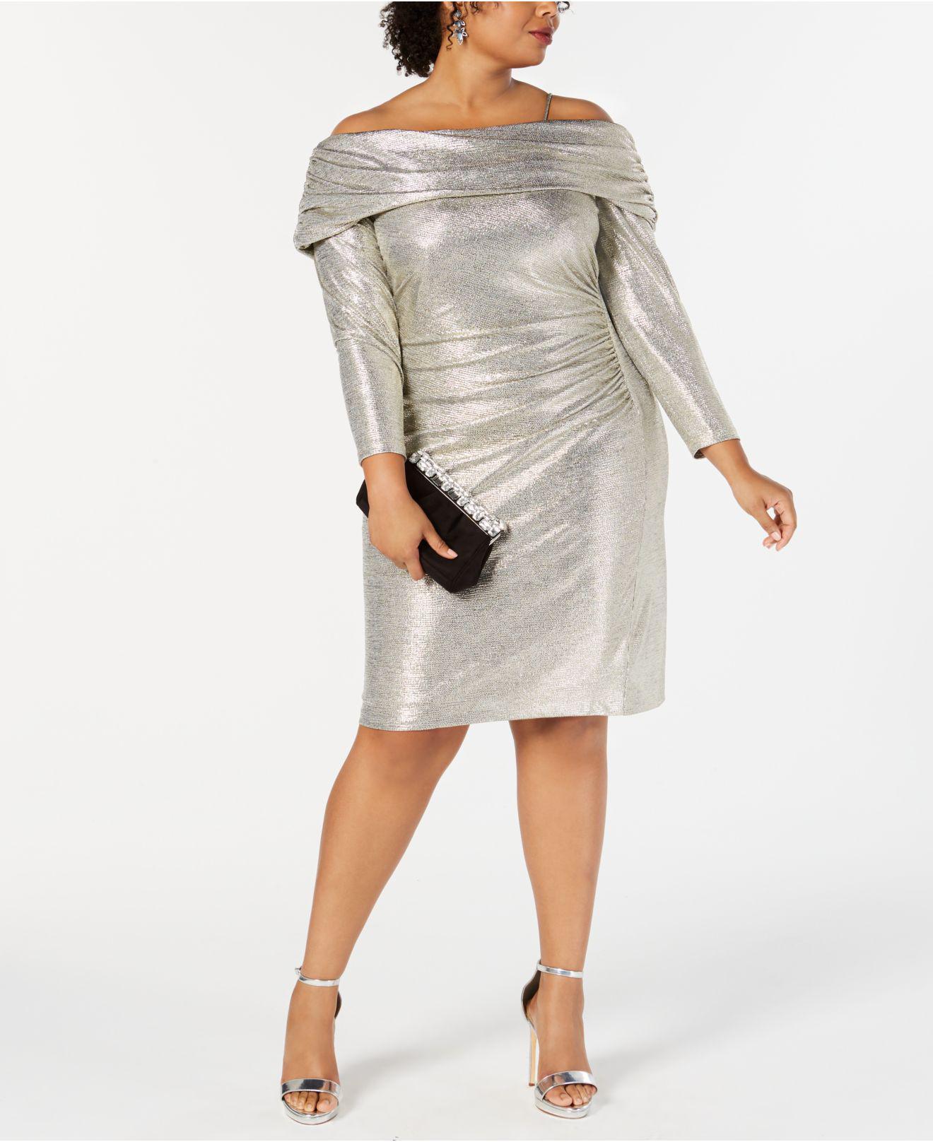 aede81479c8 Lyst - Betsy   Adam Plus Size Metallic Off-the-shoulder Sheath Dress ...