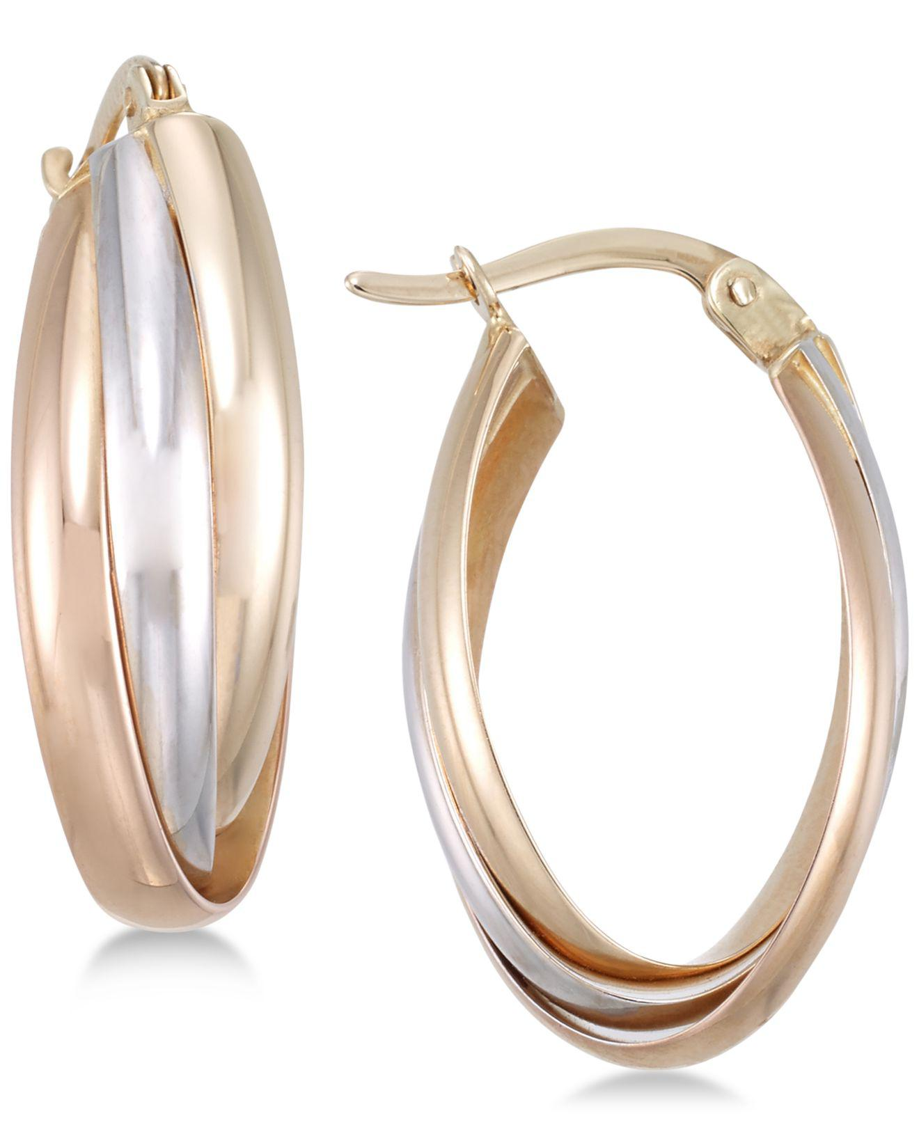 93fbdf20bd697 Women's Metallic Tri-color Multi-ring Interlocked Hoop Earrings In 14k  Yellow, White And Rose Gold