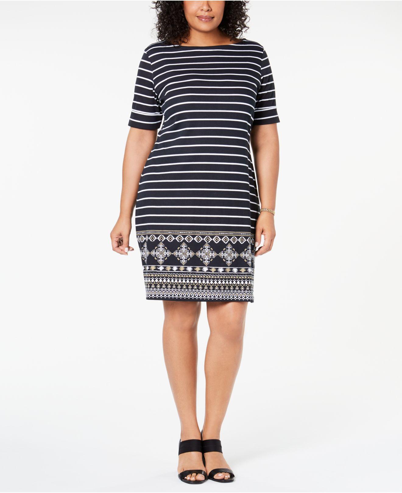 Karen Scott Plus Size Striped Dress, Created For Macy\'s in Black - Lyst