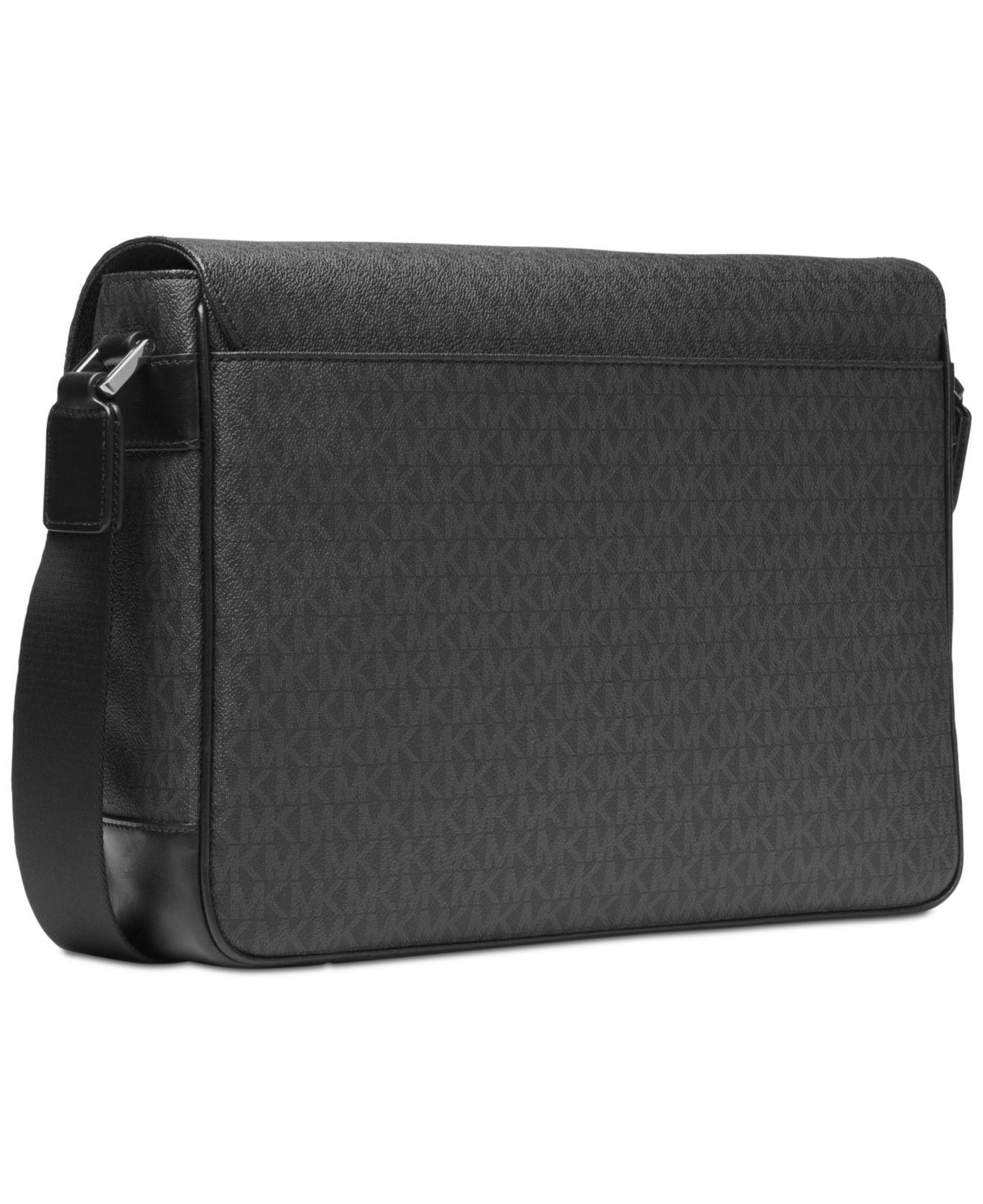 747e004a26b32 Michael Kors Men s Faux-leather Logo-print Messenger Bag in Black for Men -  Lyst