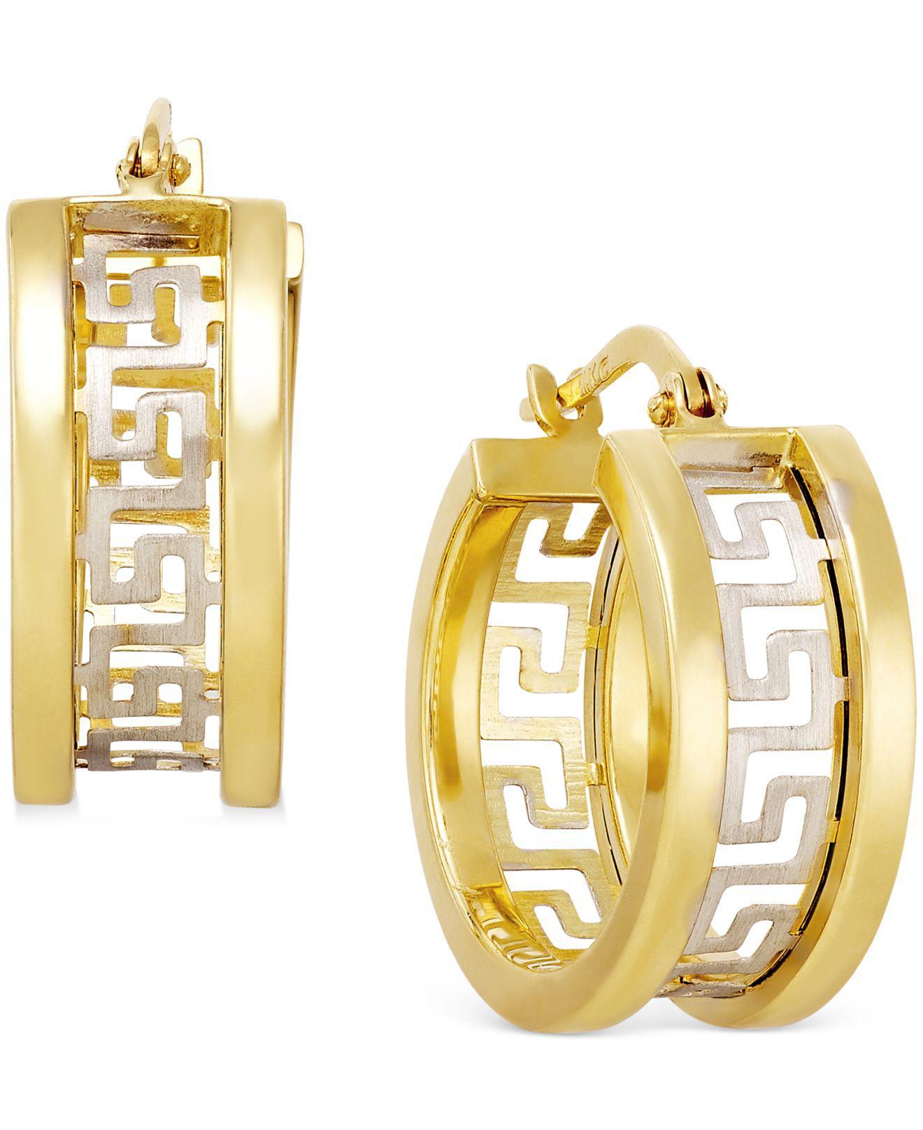 Macy S Women Metallic Two Tone Greek Key Hoop Earrings In 14k Gold
