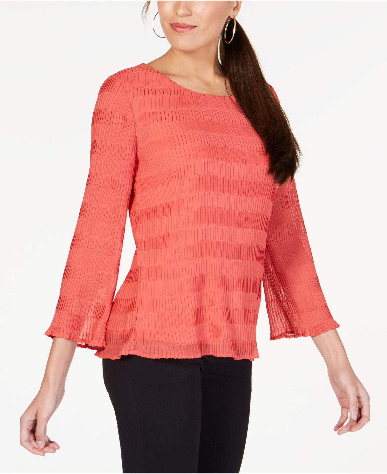 93d12d29fee Lyst - Alfani Textured Pleated Top, Created For Macy's in Pink