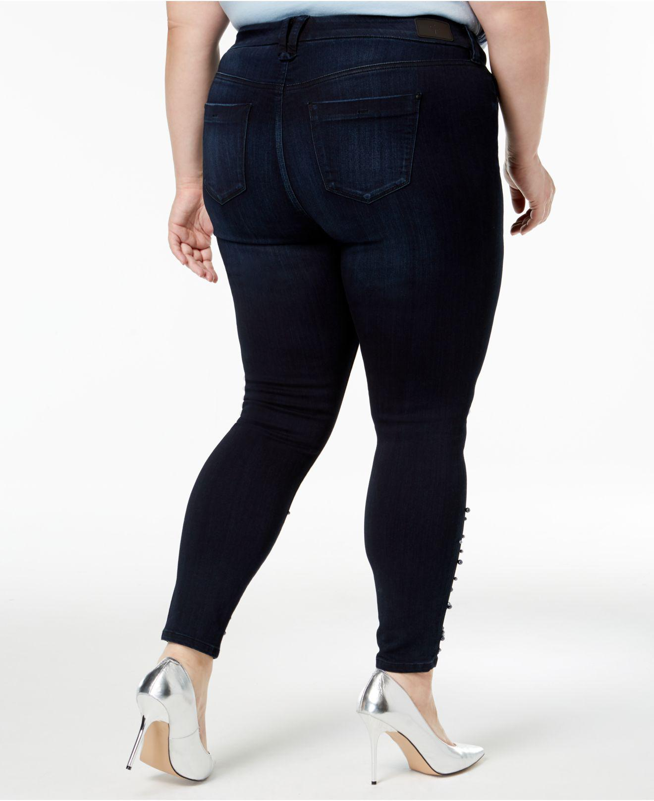 8f7903181ad5c Lyst - Celebrity Pink Trendy Plus Size Embellished Skinny Jeans in Blue