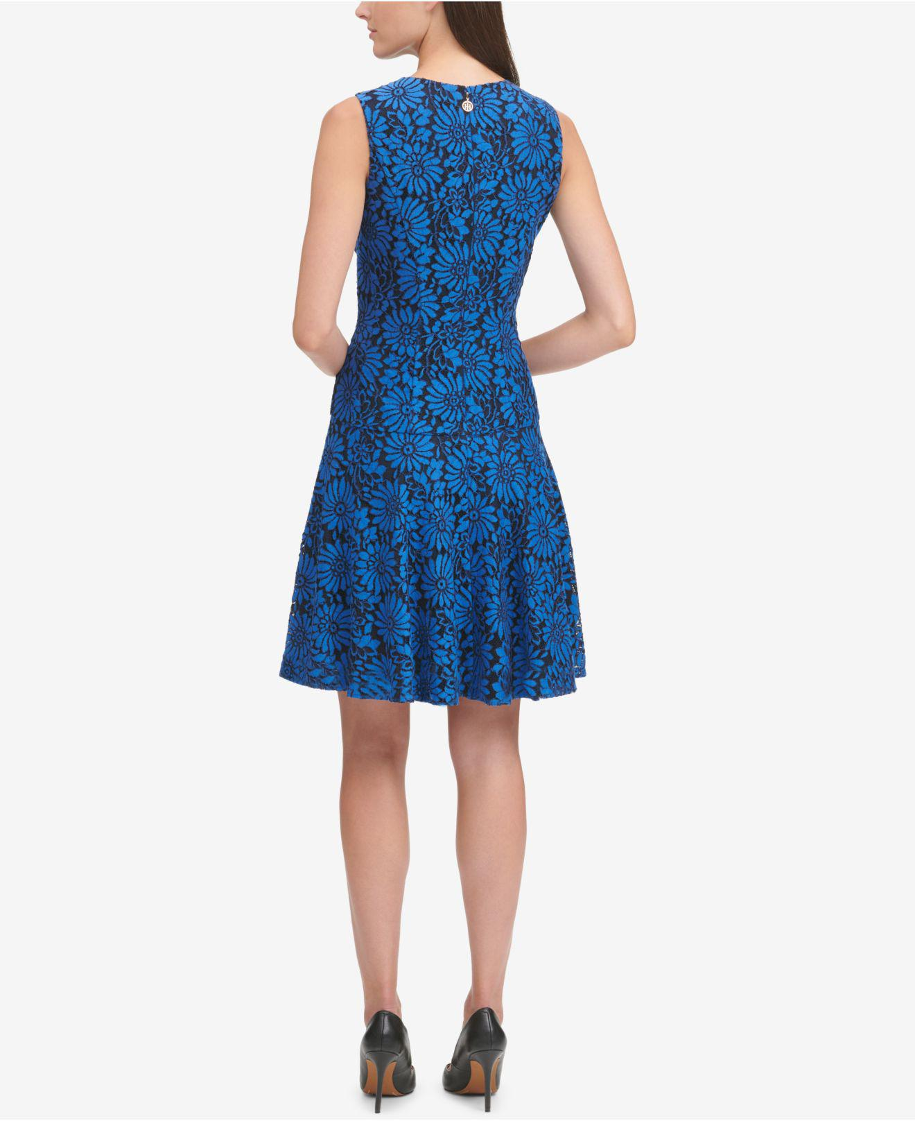 d421796b6be Lyst - Tommy Hilfiger Lace Fit   Flare Dress in Blue