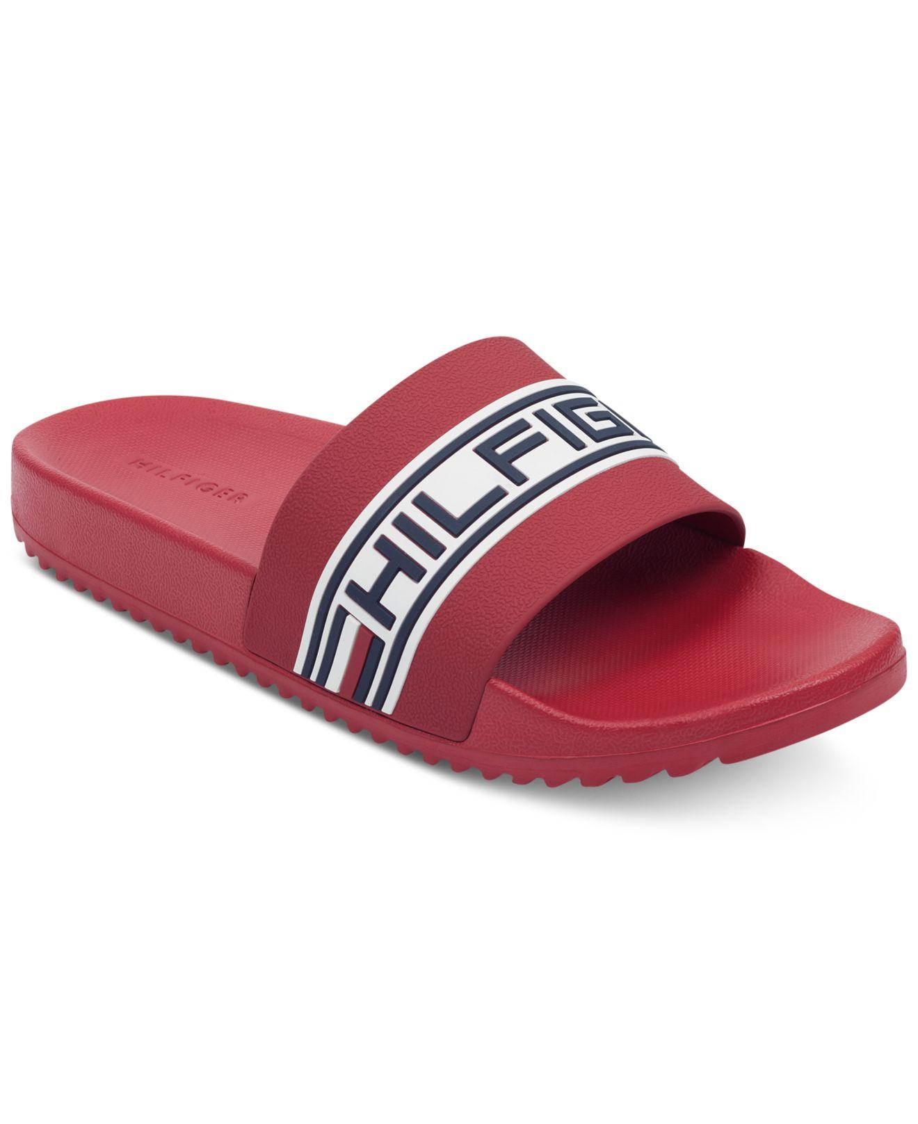 8aa85421f Lyst - Tommy Hilfiger Rustic Slide Sandals in Red for Men