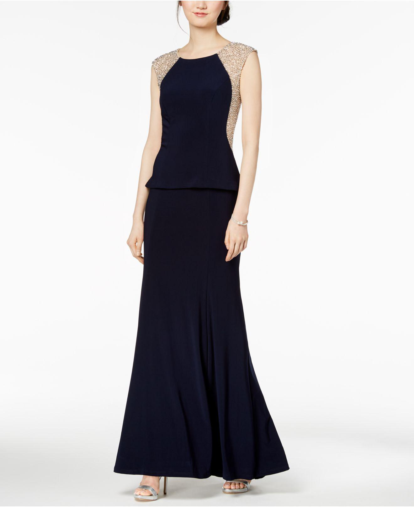 Lyst - Xscape Beaded Illusion Peplum-detail Gown in Blue
