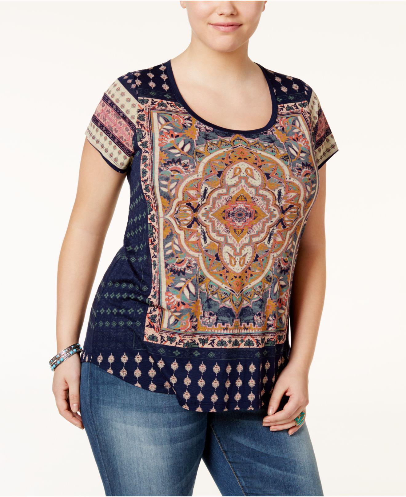 ea6c7dbf866a1 Lucky Brand. Women s Blue Trendy Plus Size Persian Carpet Graphic T-shirt
