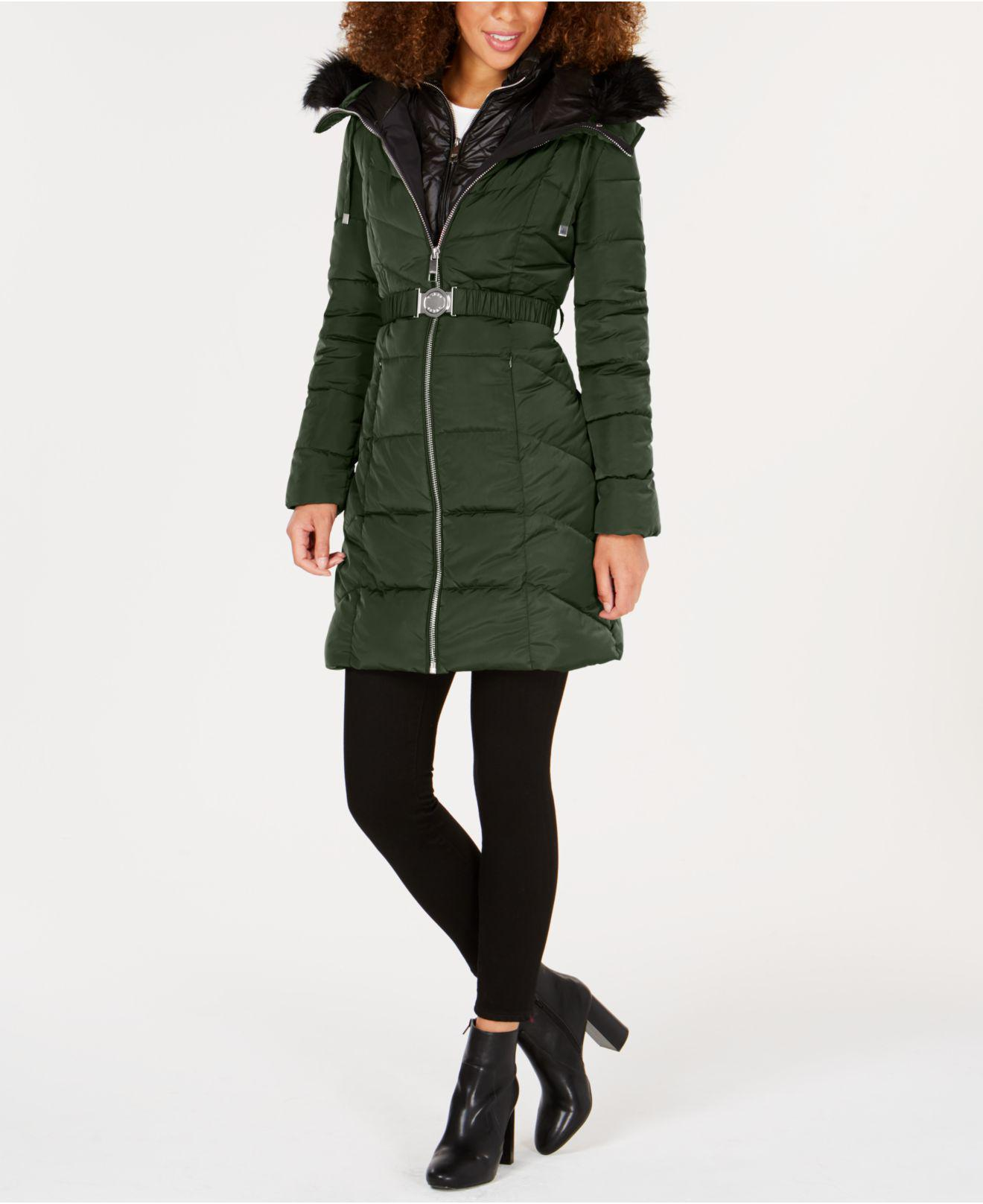 Guess Faux Fur Trim Hooded Belted Puffer Coat In Olive