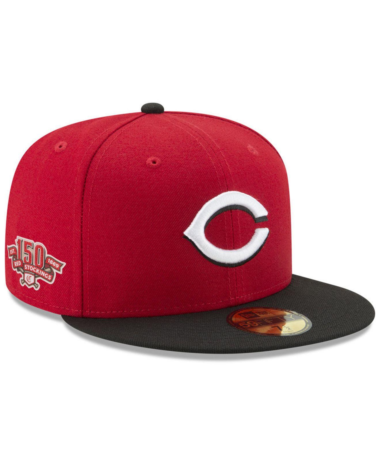 online retailer b2e15 4270a KTZ. Men s Cincinnati Reds Authentic Collection Anniversary Patch 59fifty  Fitted Cap