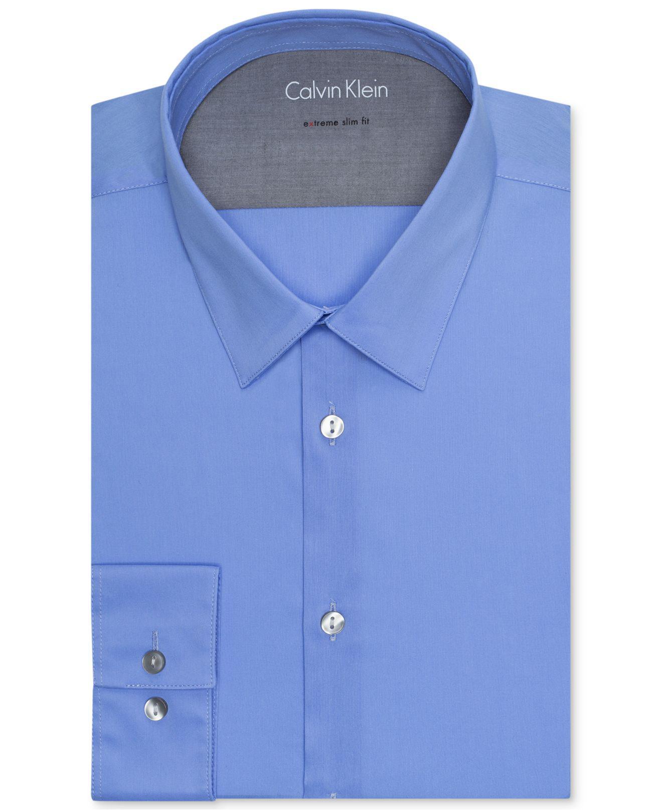 Lyst calvin klein men 39 s extra slim fit solid dress shirt for Calvin klein x fit dress shirt