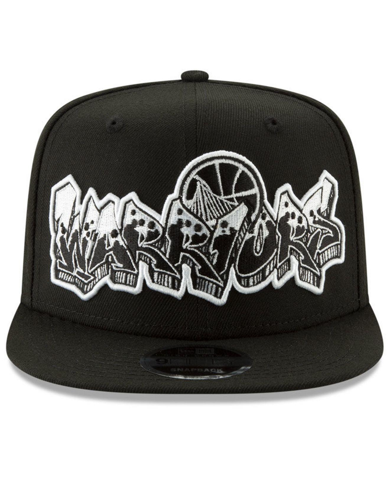 huge discount c03c3 32840 ... coupon for lyst ktz golden state warriors retroword black white 9fifty  snapback cap in black for