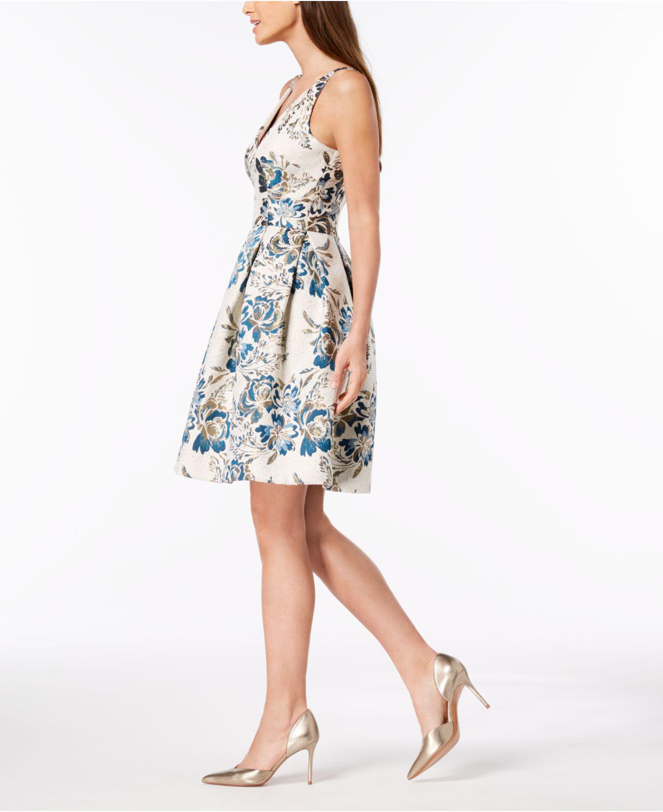 a396c2c4 Xscape Brocade Fit & Flare Dress in Blue - Lyst