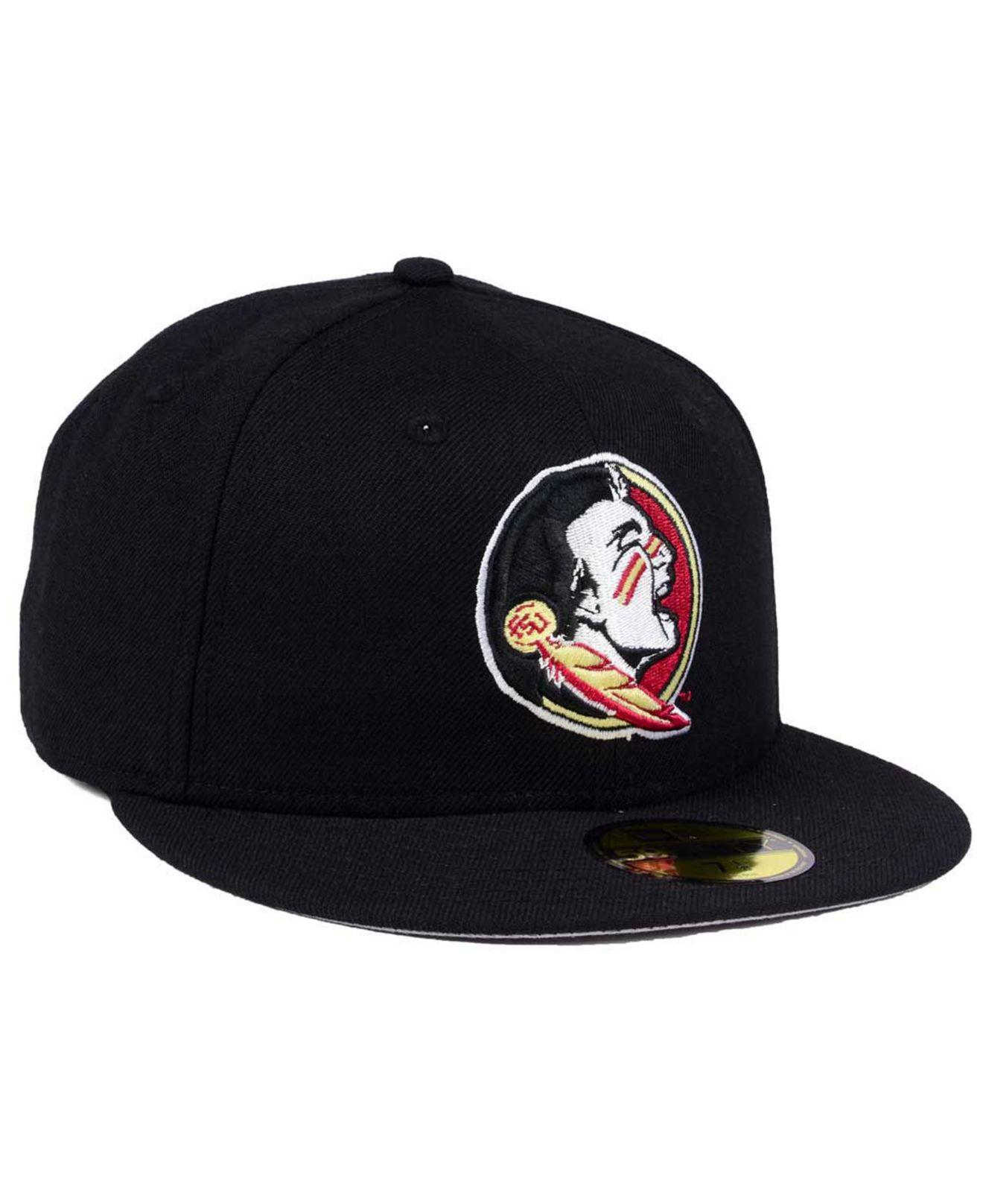 wholesale dealer 23392 e51be KTZ - Black Florida State Seminoles Ac 59fifty Fitted Cap for Men - Lyst.  View fullscreen