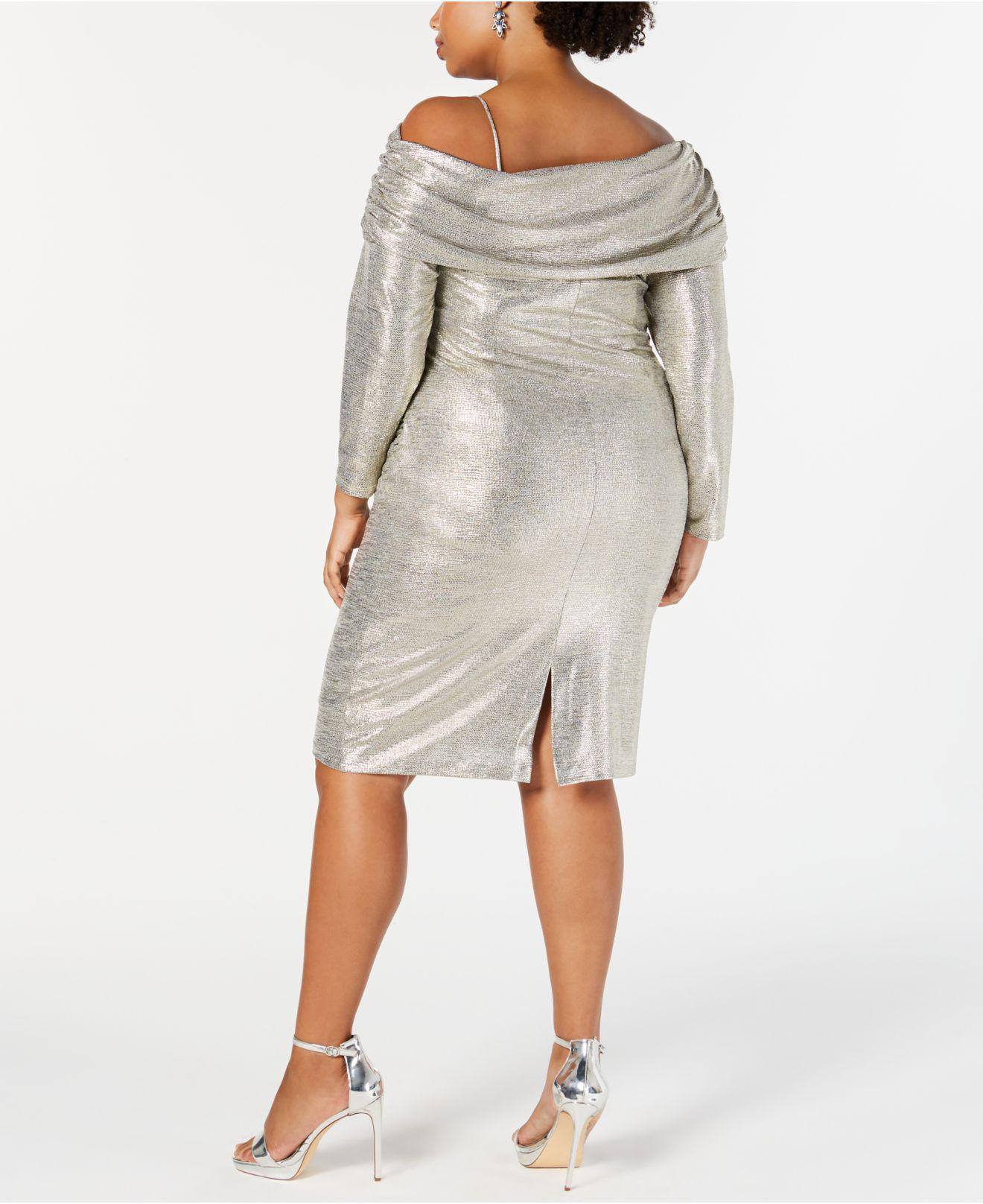 33b40854e99 Lyst - Betsy   Adam Plus Size Metallic Off-the-shoulder Sheath Dress in  Metallic - Save 4%