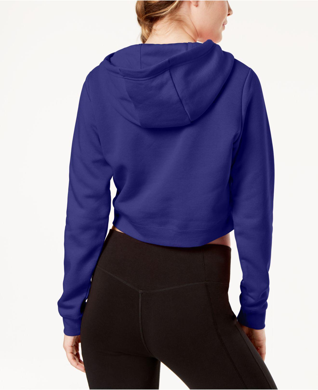 372f6ea9ce62b Lyst - Nike Sportswear Rally Logo Cropped Fleece Hoodie in Blue - Save 63%