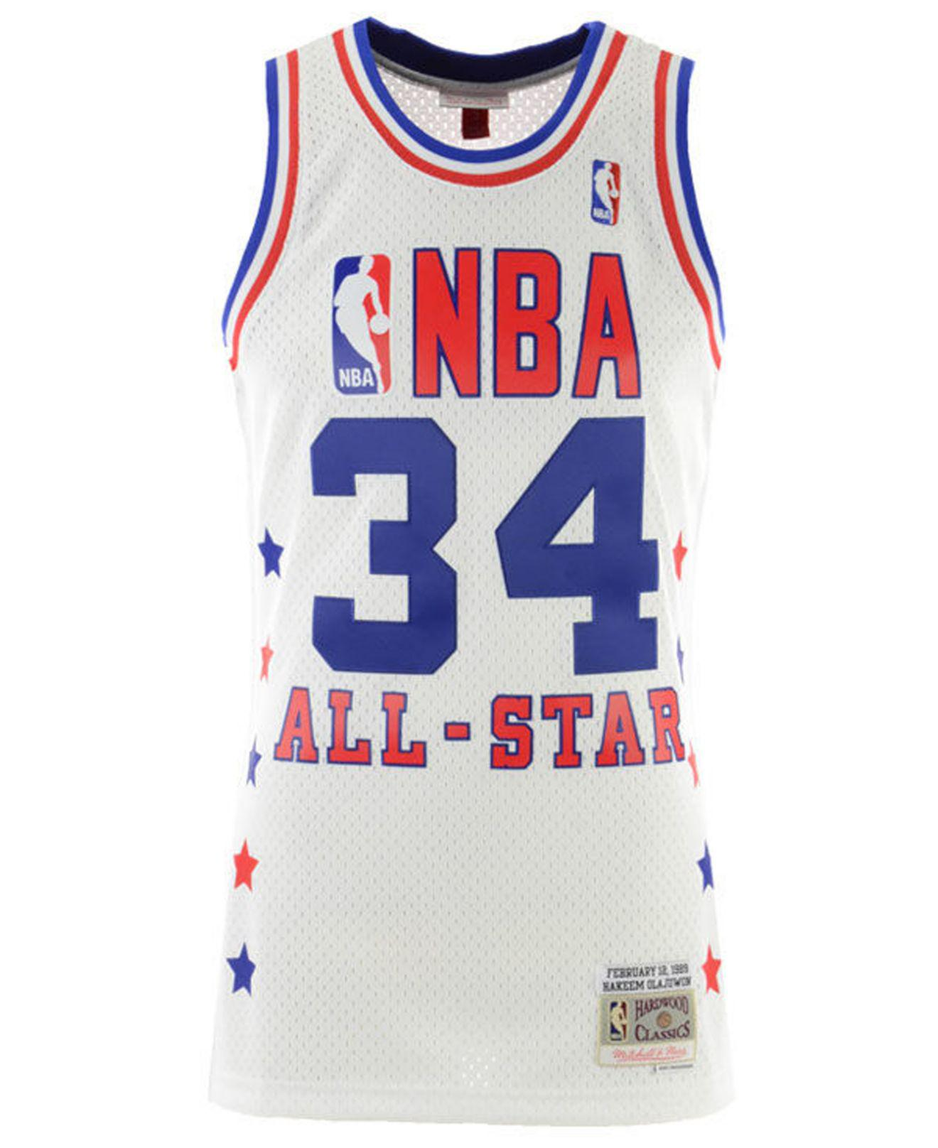separation shoes 97933 3958a Men's Blue Hakeem Olajuwon Nba All Star 1989 Swingman Jersey